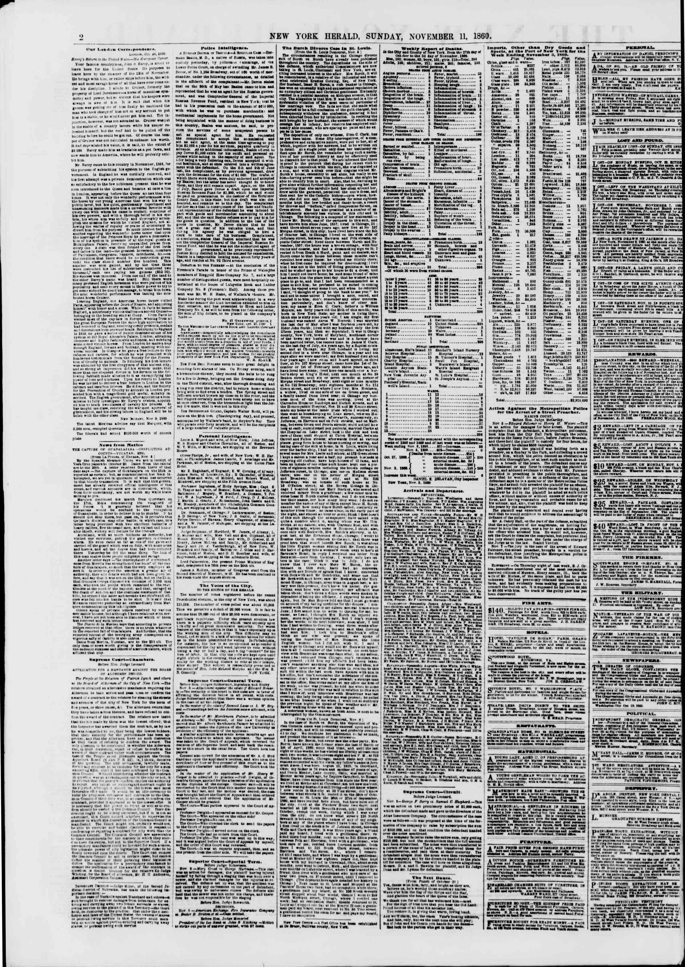 Newspaper of The New York Herald dated November 11, 1860 Page 2