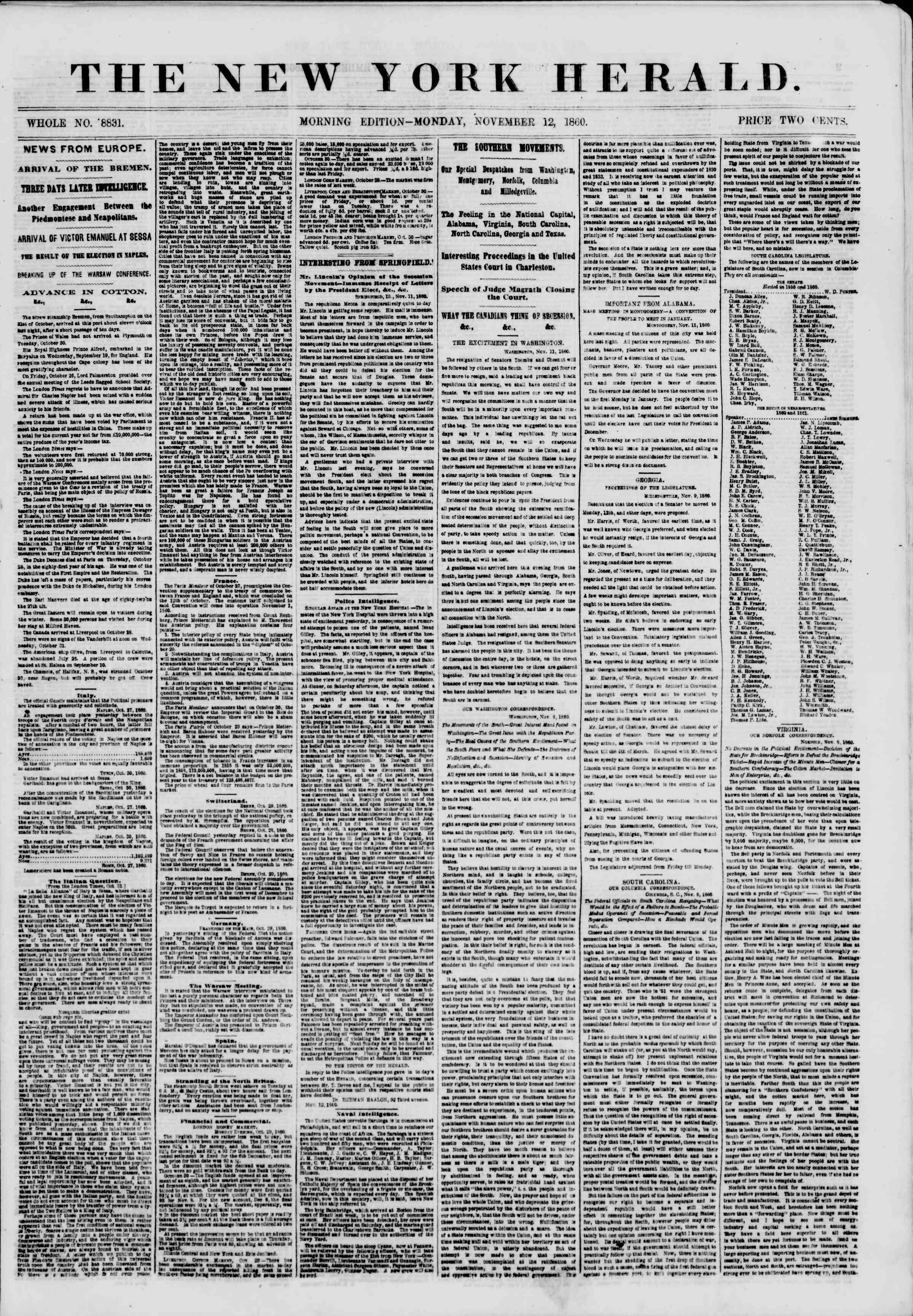 Newspaper of The New York Herald dated November 12, 1860 Page 1