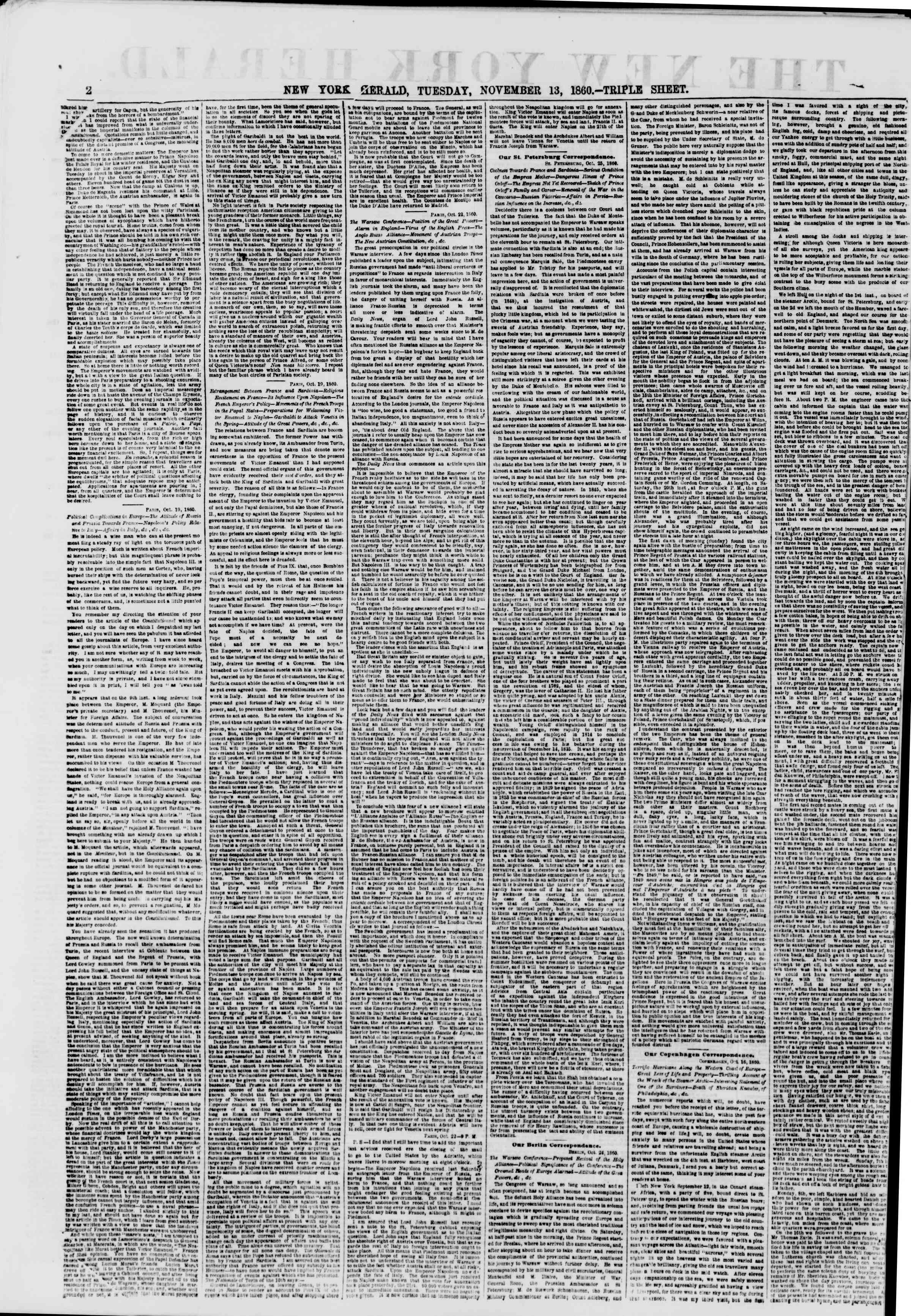 Newspaper of The New York Herald dated November 13, 1860 Page 2