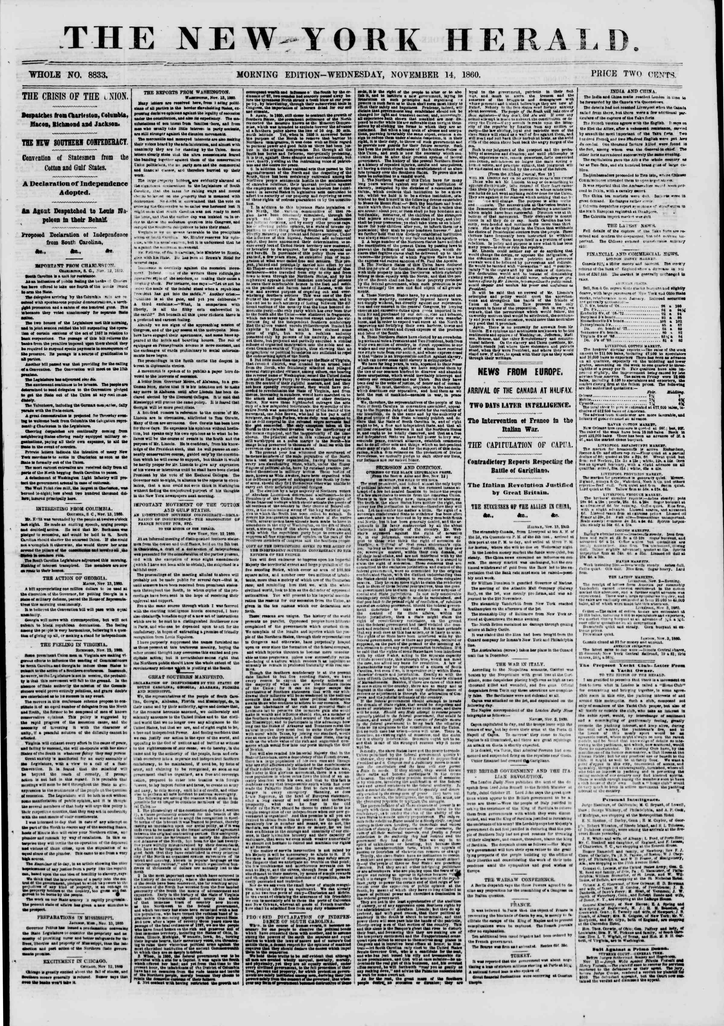 Newspaper of The New York Herald dated November 14, 1860 Page 1