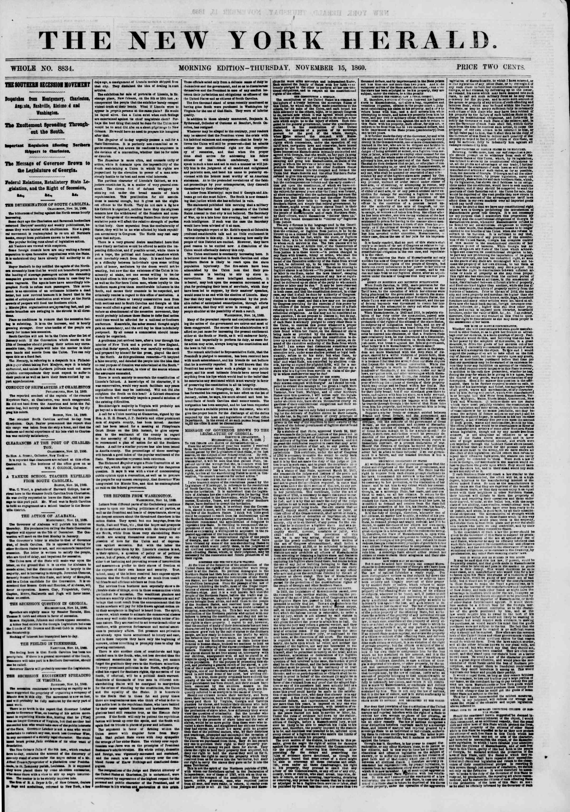 Newspaper of The New York Herald dated November 15, 1860 Page 1