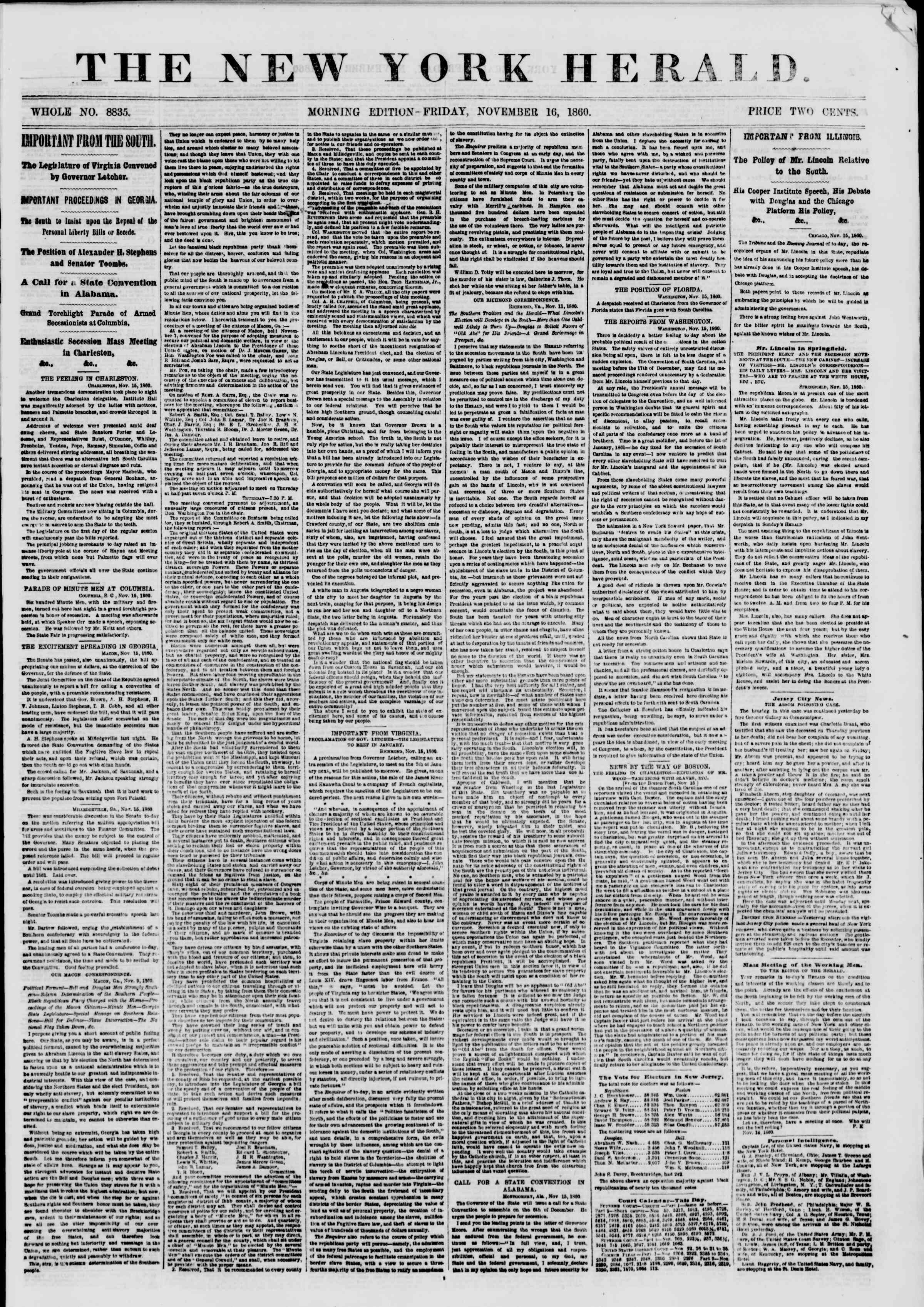 Newspaper of The New York Herald dated November 16, 1860 Page 1