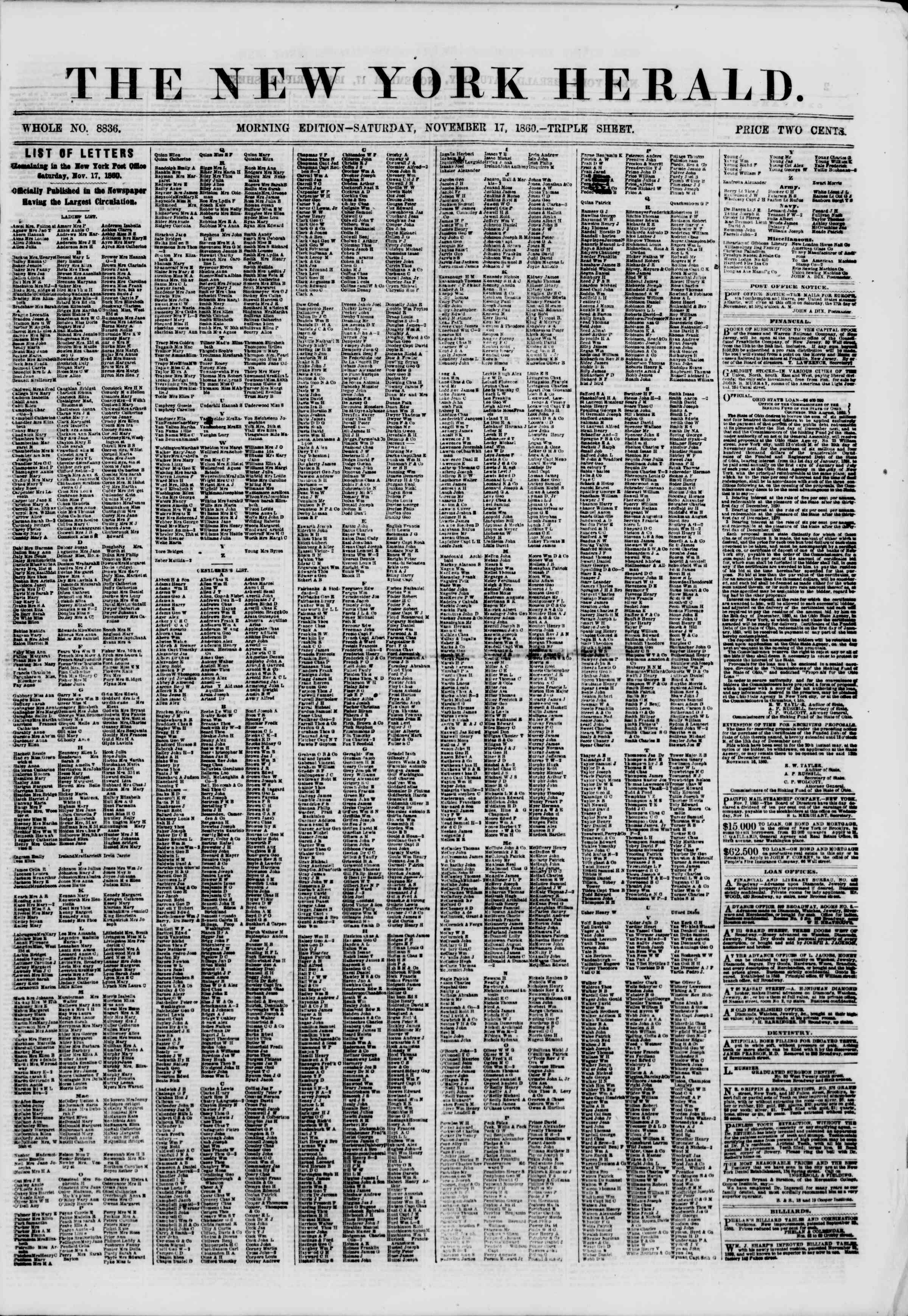 Newspaper of The New York Herald dated November 17, 1860 Page 1