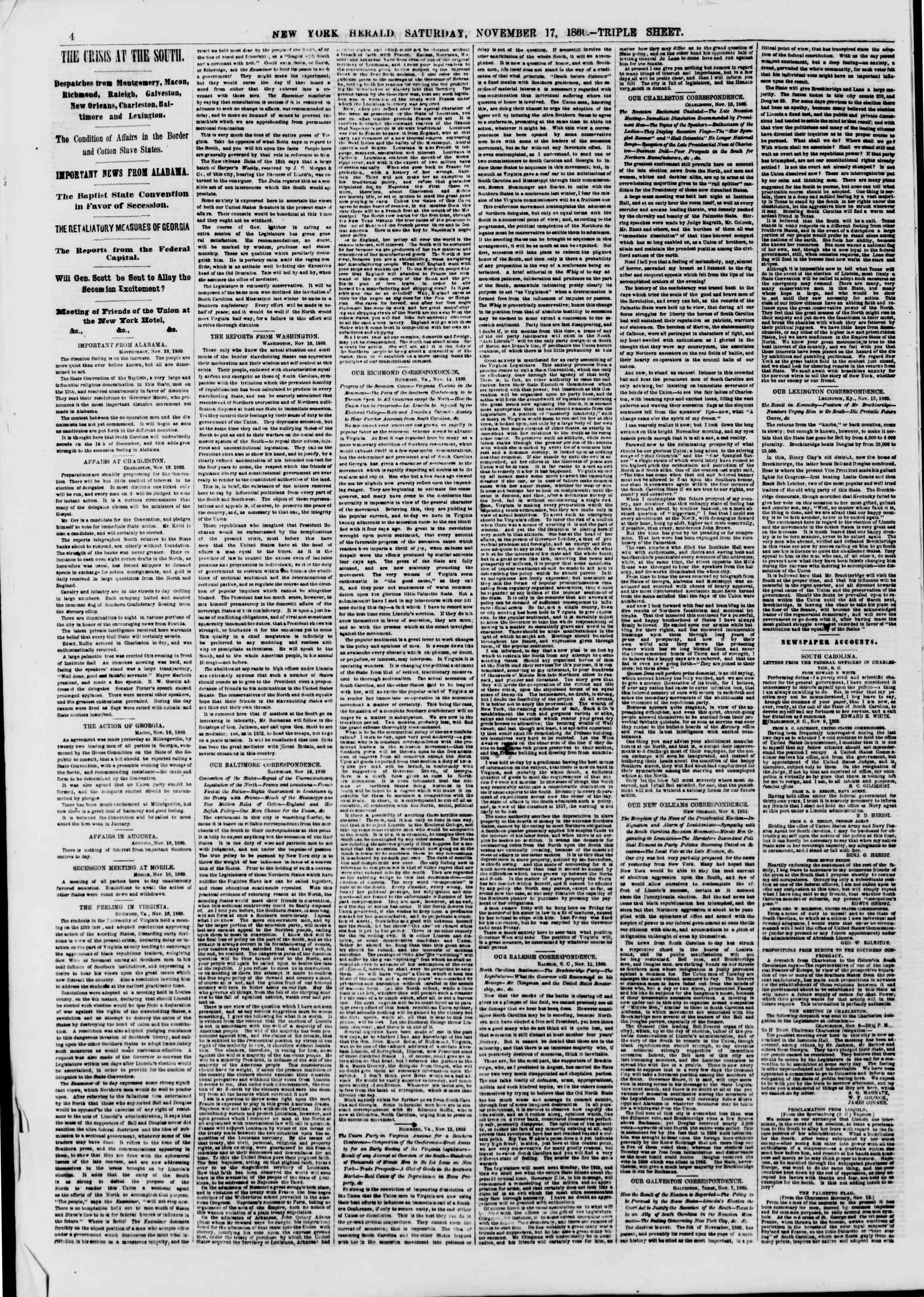 Newspaper of The New York Herald dated November 17, 1860 Page 4