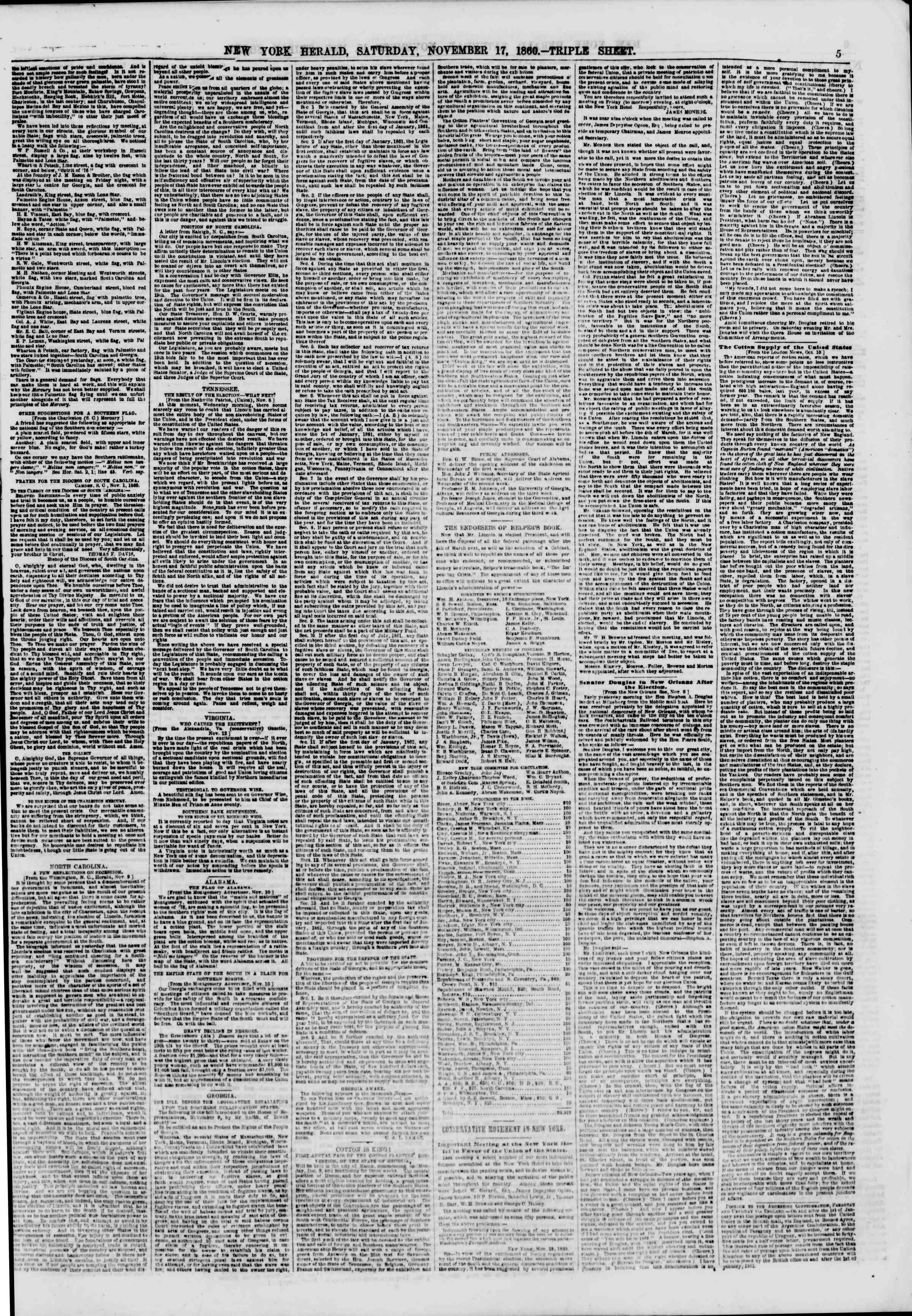 Newspaper of The New York Herald dated November 17, 1860 Page 5