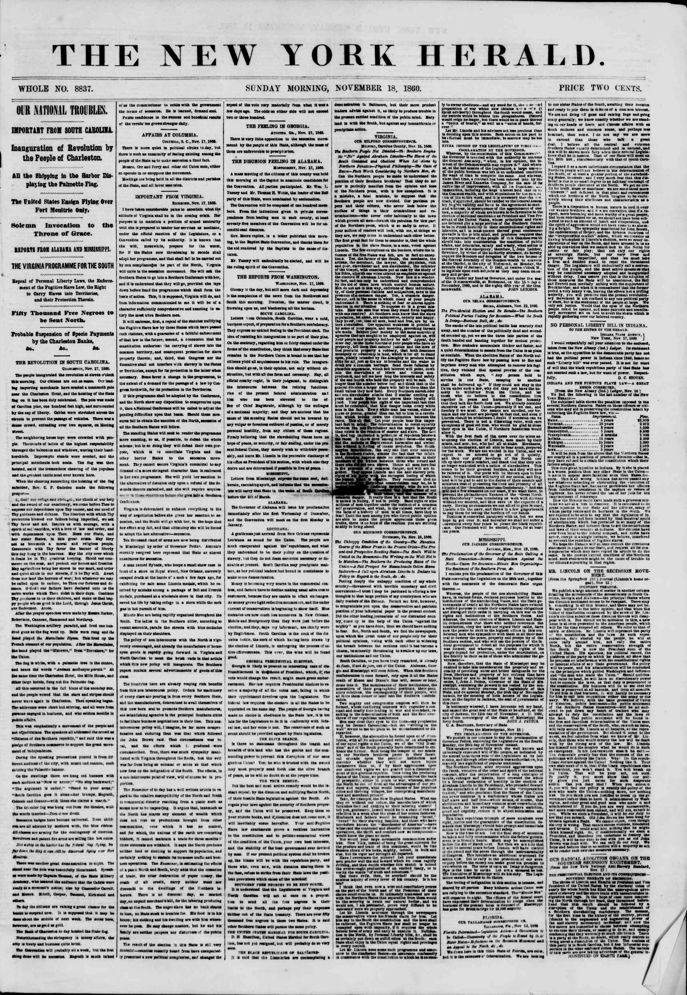 Newspaper of The New York Herald dated November 18, 1860 Page 1
