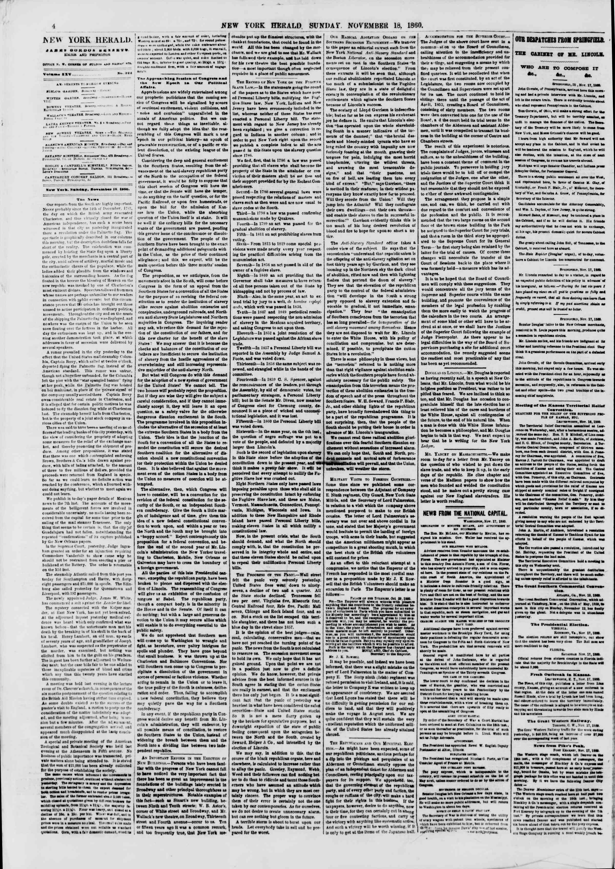 Newspaper of The New York Herald dated November 18, 1860 Page 4