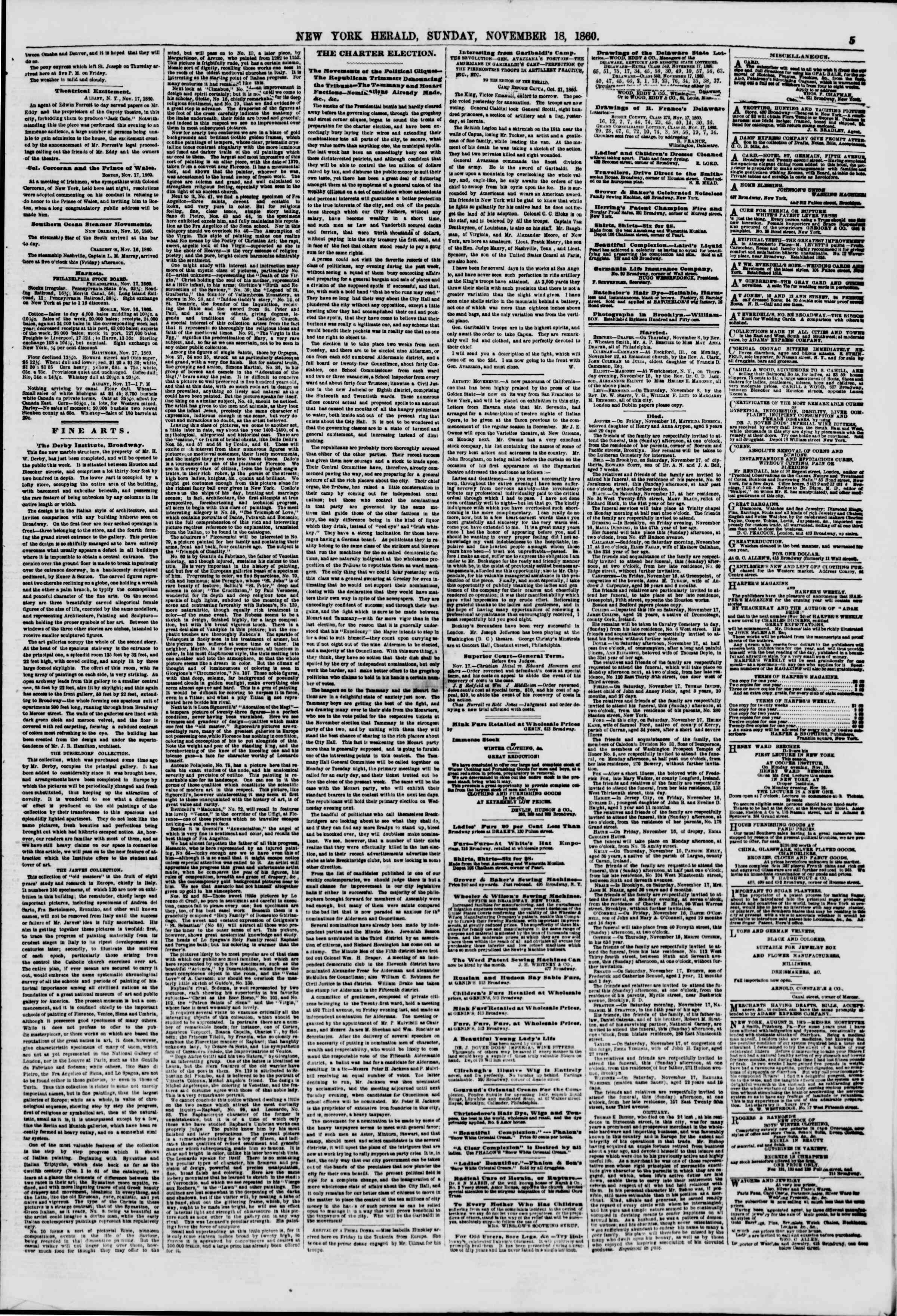 Newspaper of The New York Herald dated 18 Kasım 1860 Page 5
