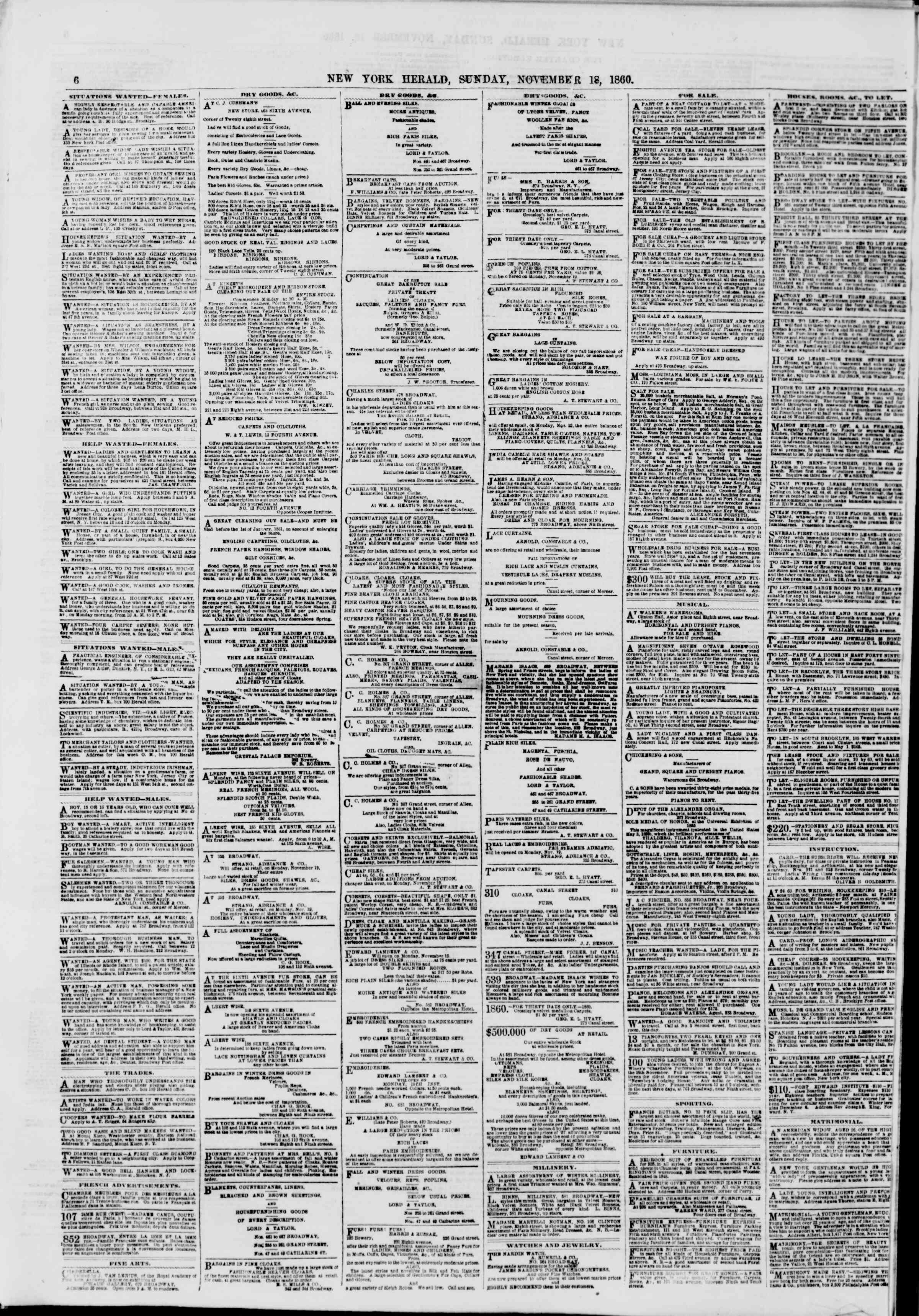 Newspaper of The New York Herald dated November 18, 1860 Page 6