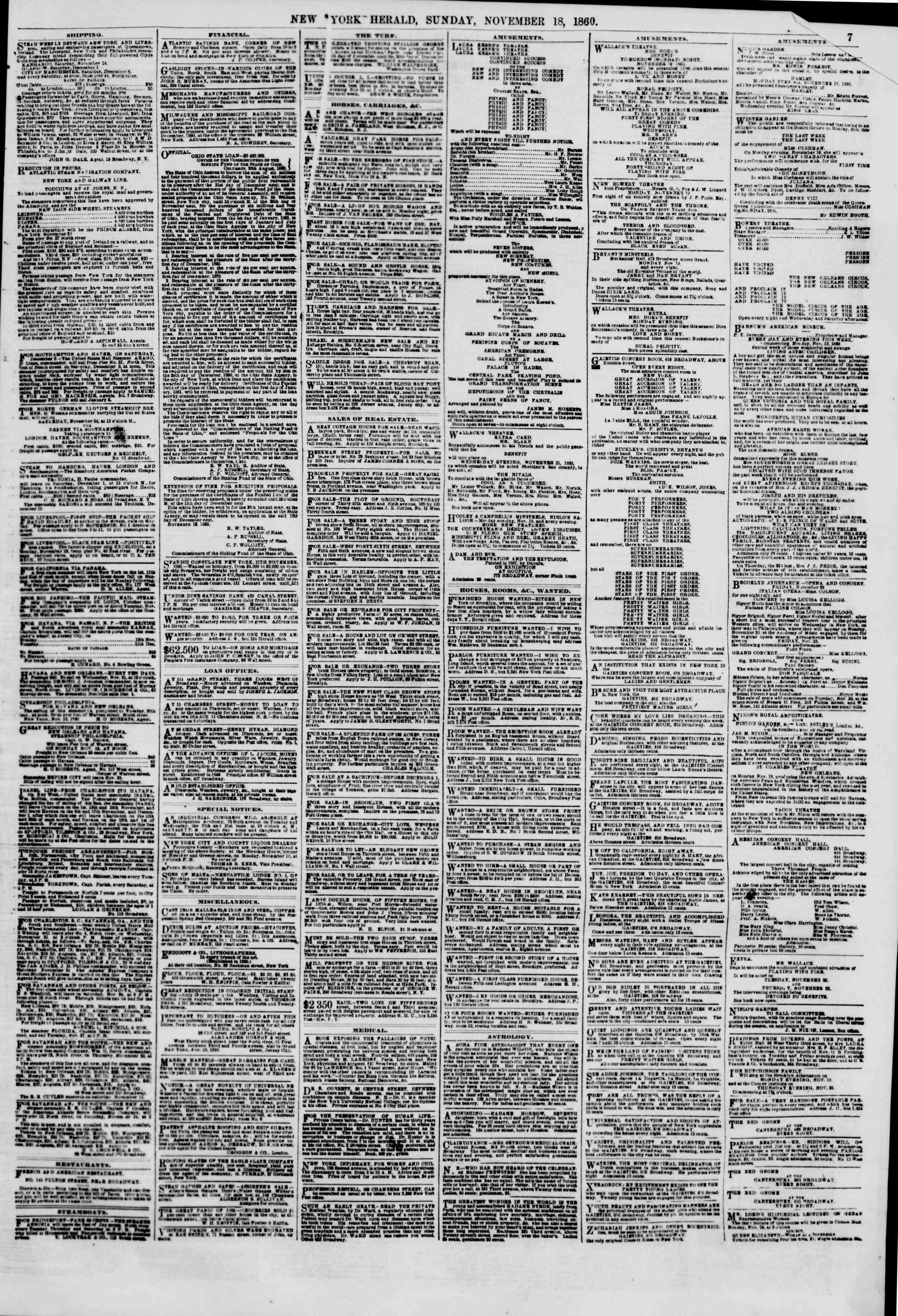18 Kasım 1860 tarihli The New York Herald Gazetesi Sayfa 7