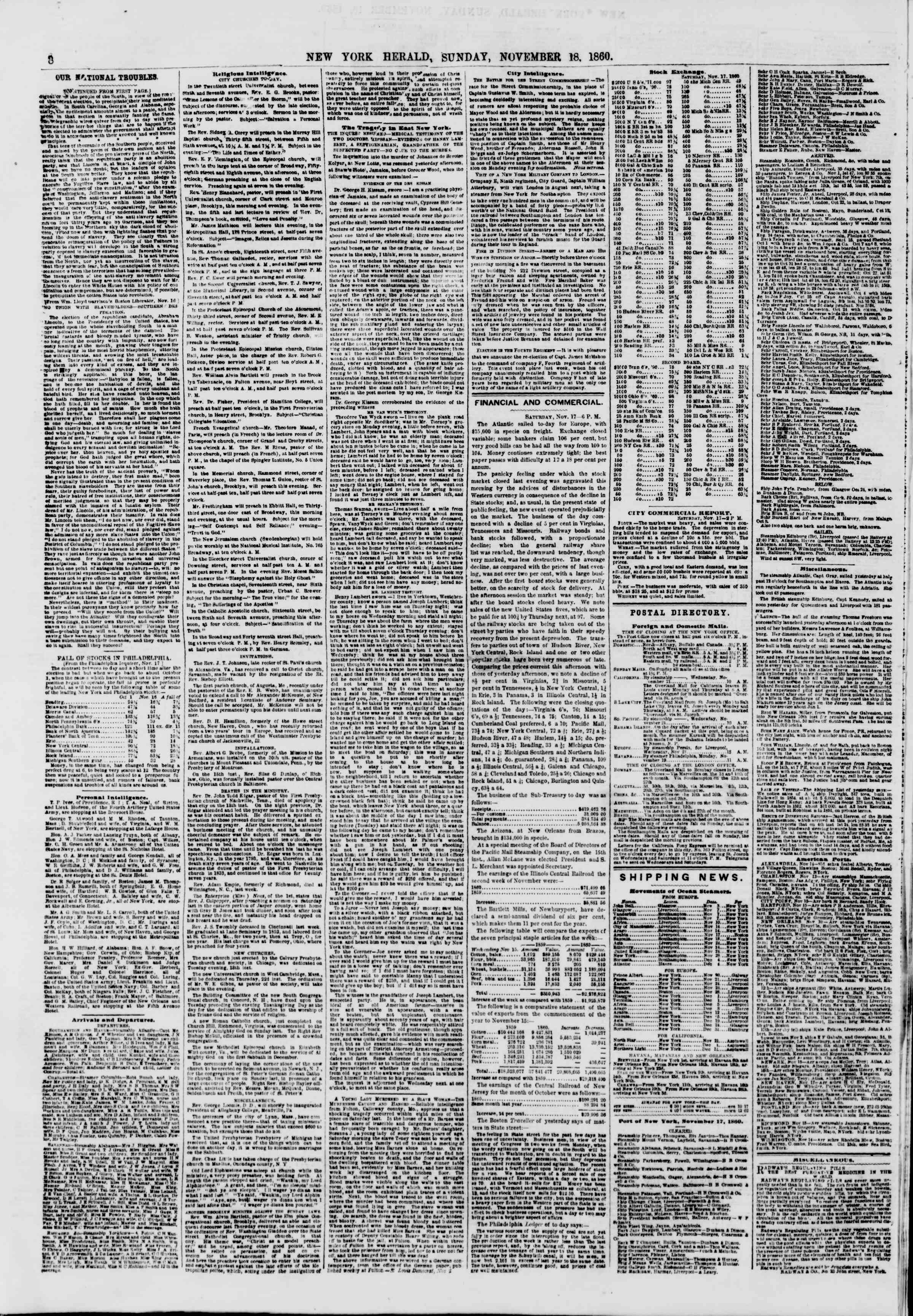 Newspaper of The New York Herald dated November 18, 1860 Page 8