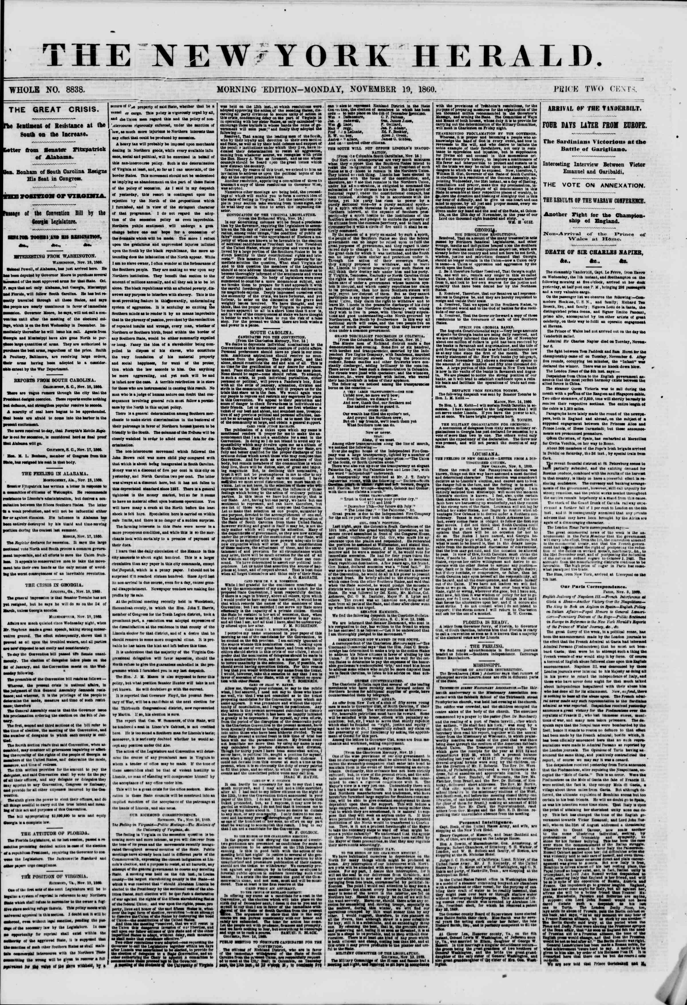 19 Kasım 1860 tarihli The New York Herald Gazetesi Sayfa 1