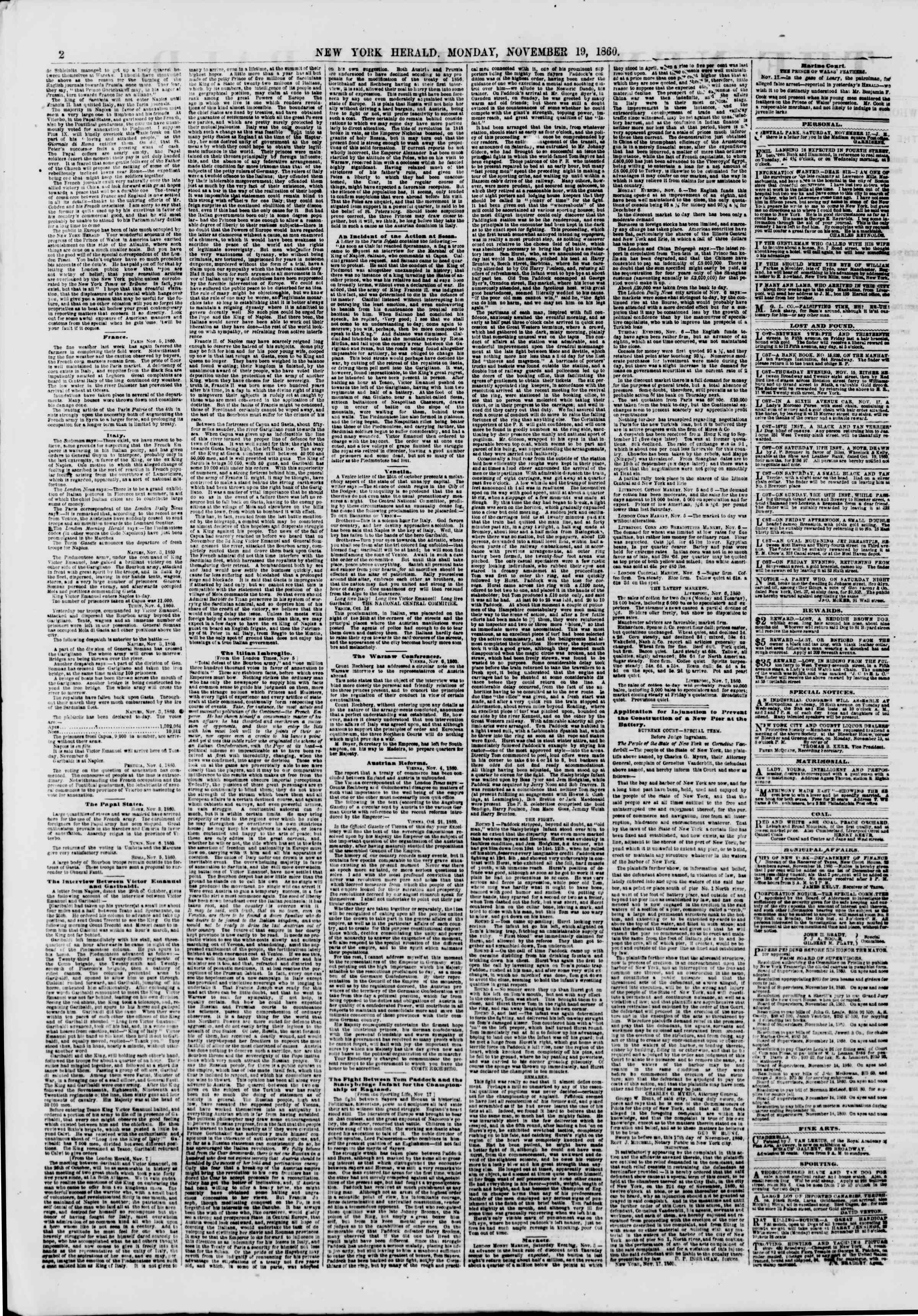 Newspaper of The New York Herald dated November 19, 1860 Page 2