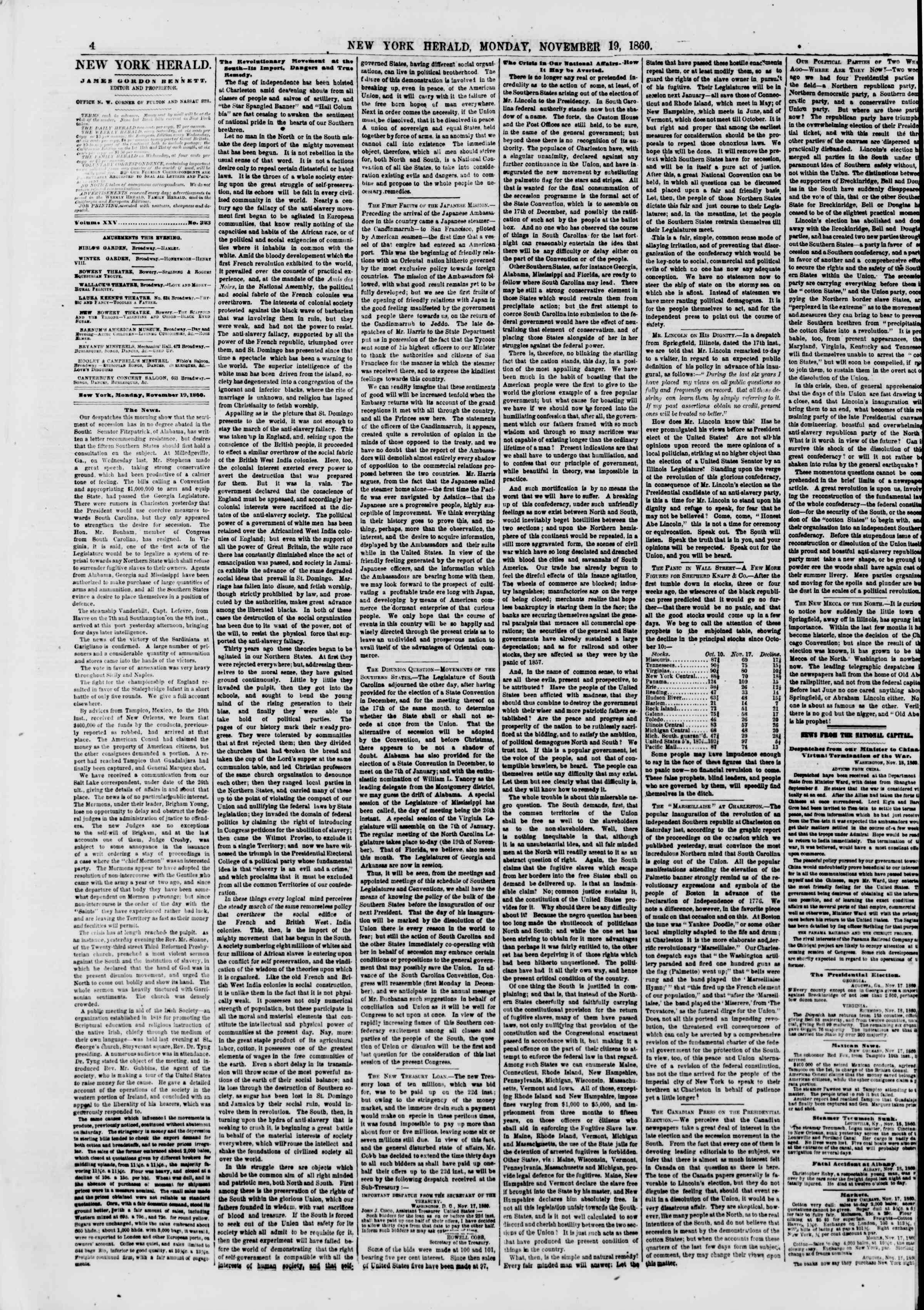 Newspaper of The New York Herald dated November 19, 1860 Page 4