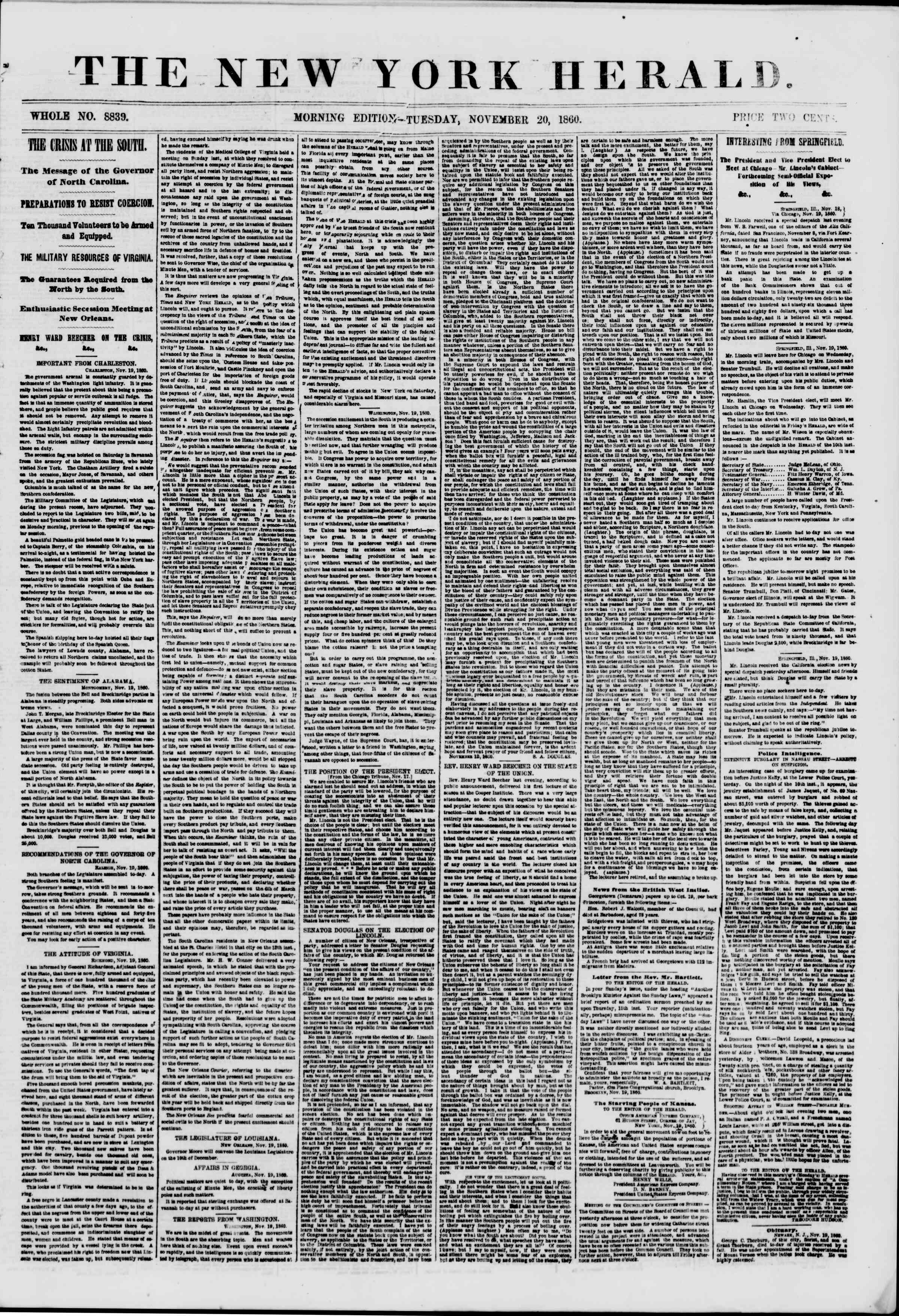 Newspaper of The New York Herald dated November 20, 1860 Page 1