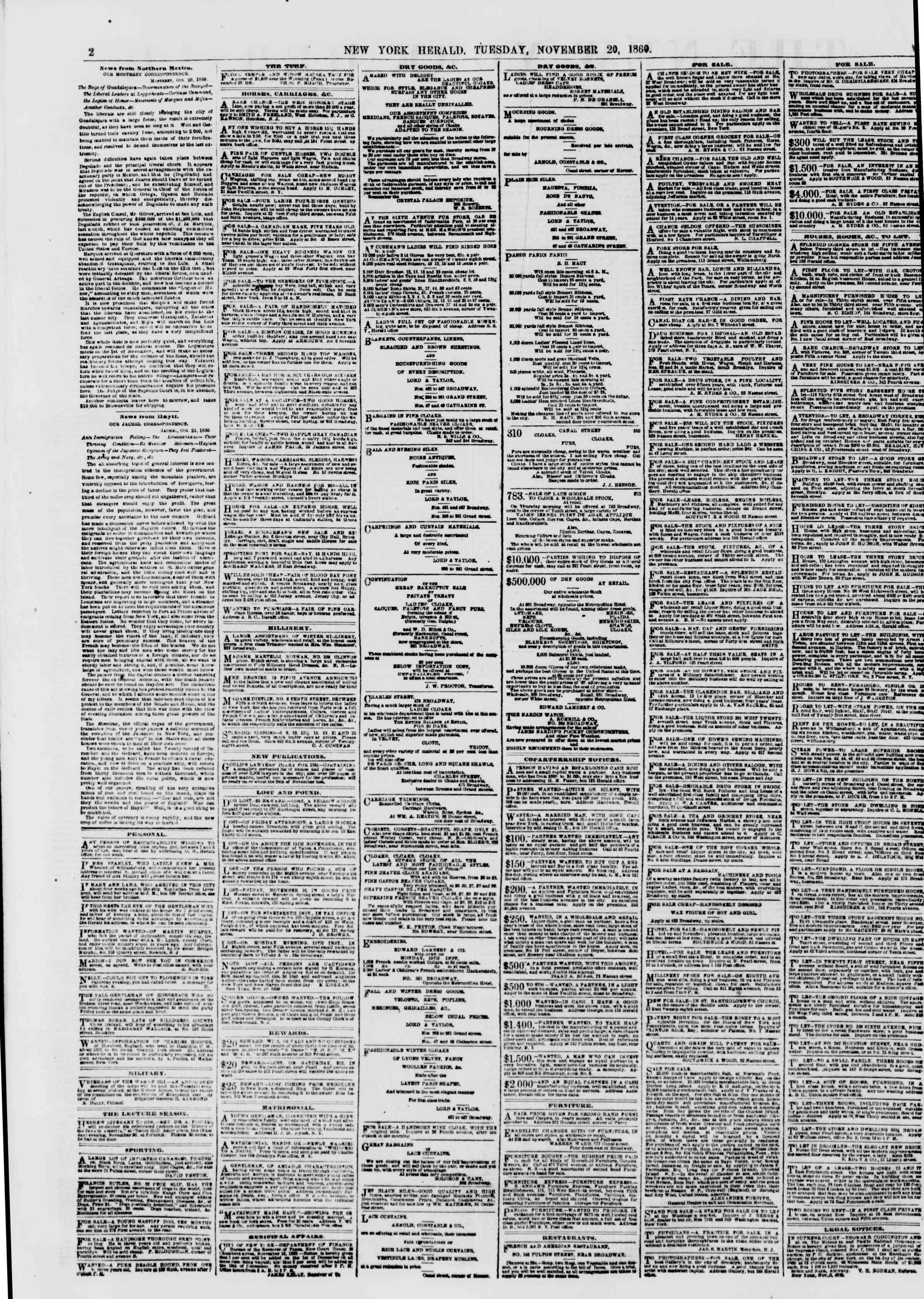 Newspaper of The New York Herald dated November 20, 1860 Page 2
