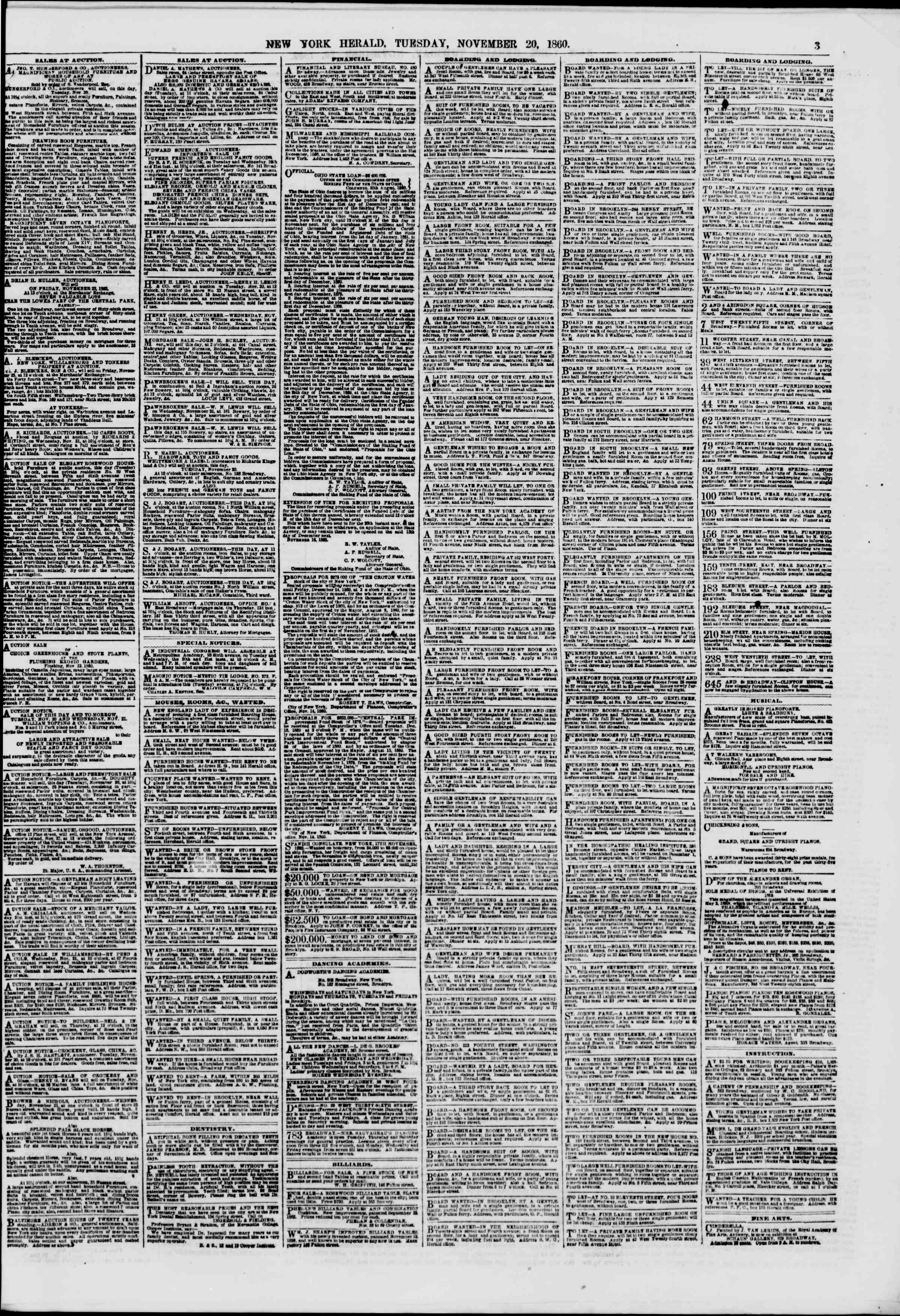 Newspaper of The New York Herald dated November 20, 1860 Page 3