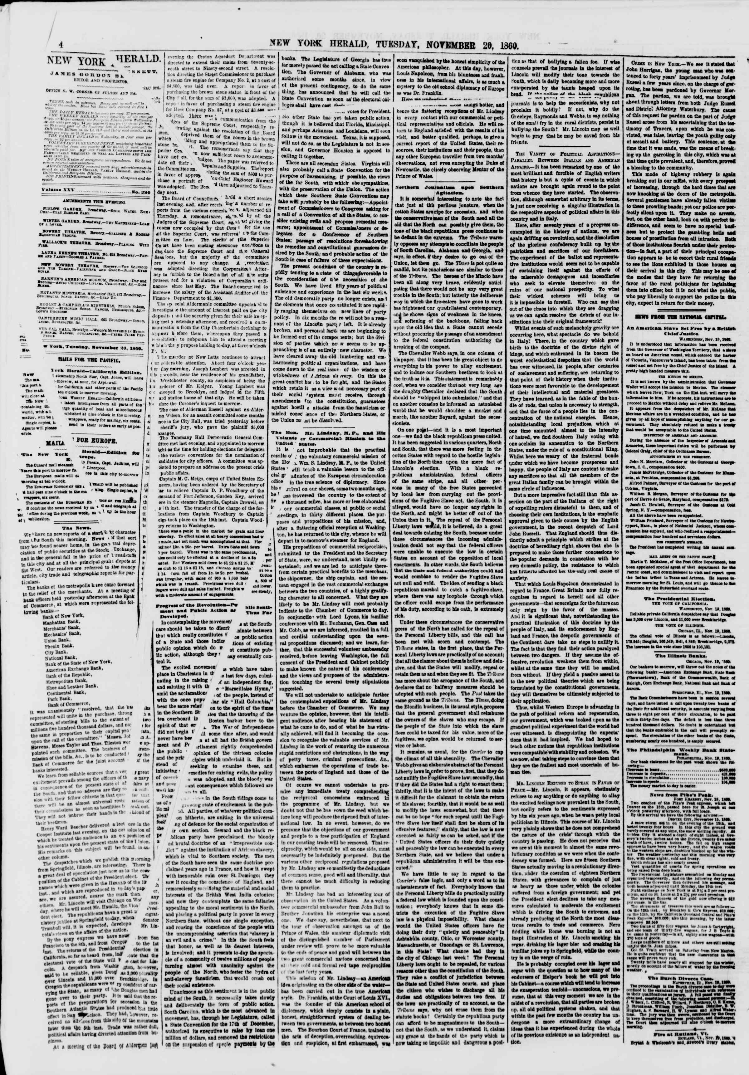 Newspaper of The New York Herald dated November 20, 1860 Page 4