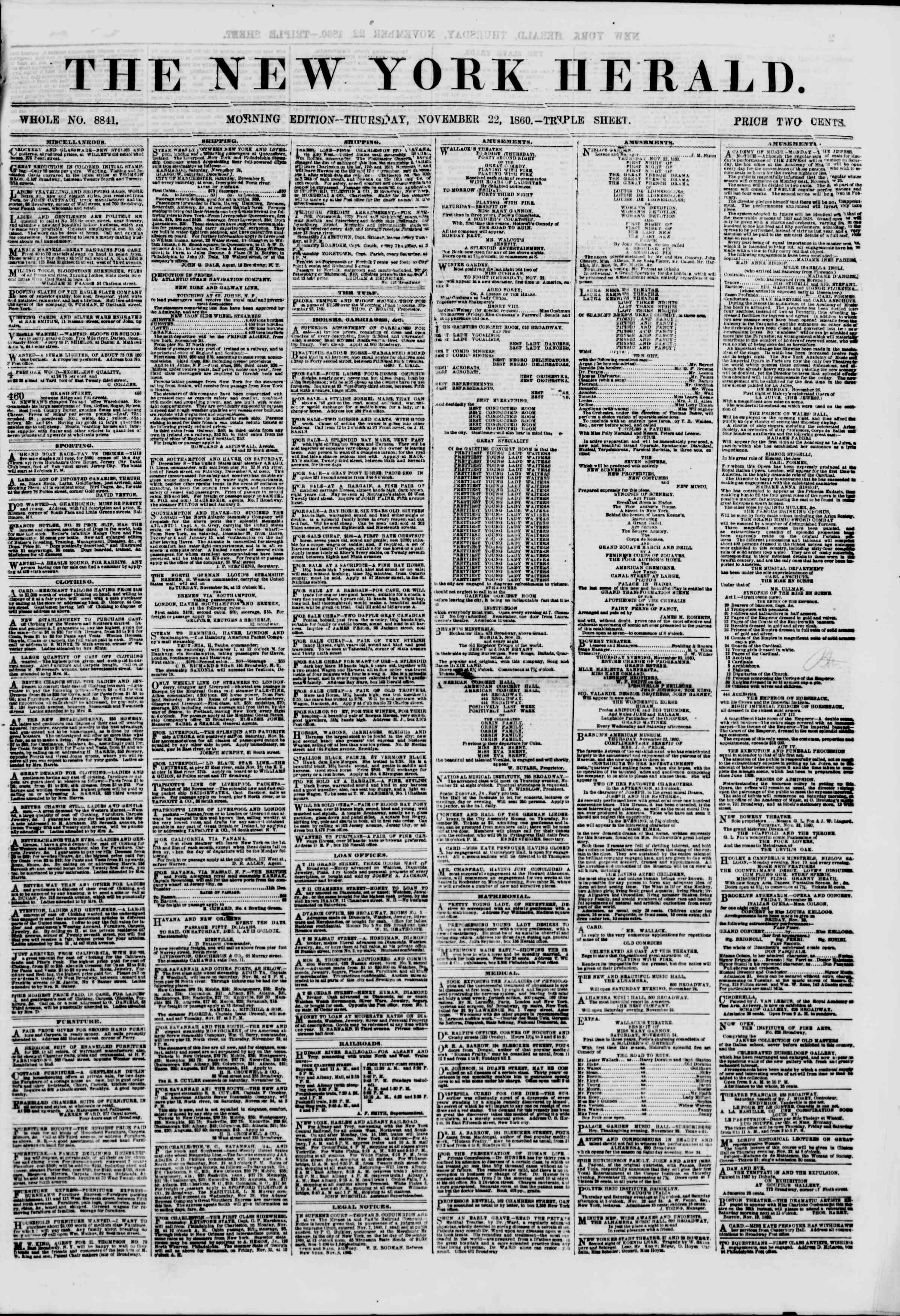 Newspaper of The New York Herald dated November 22, 1860 Page 1