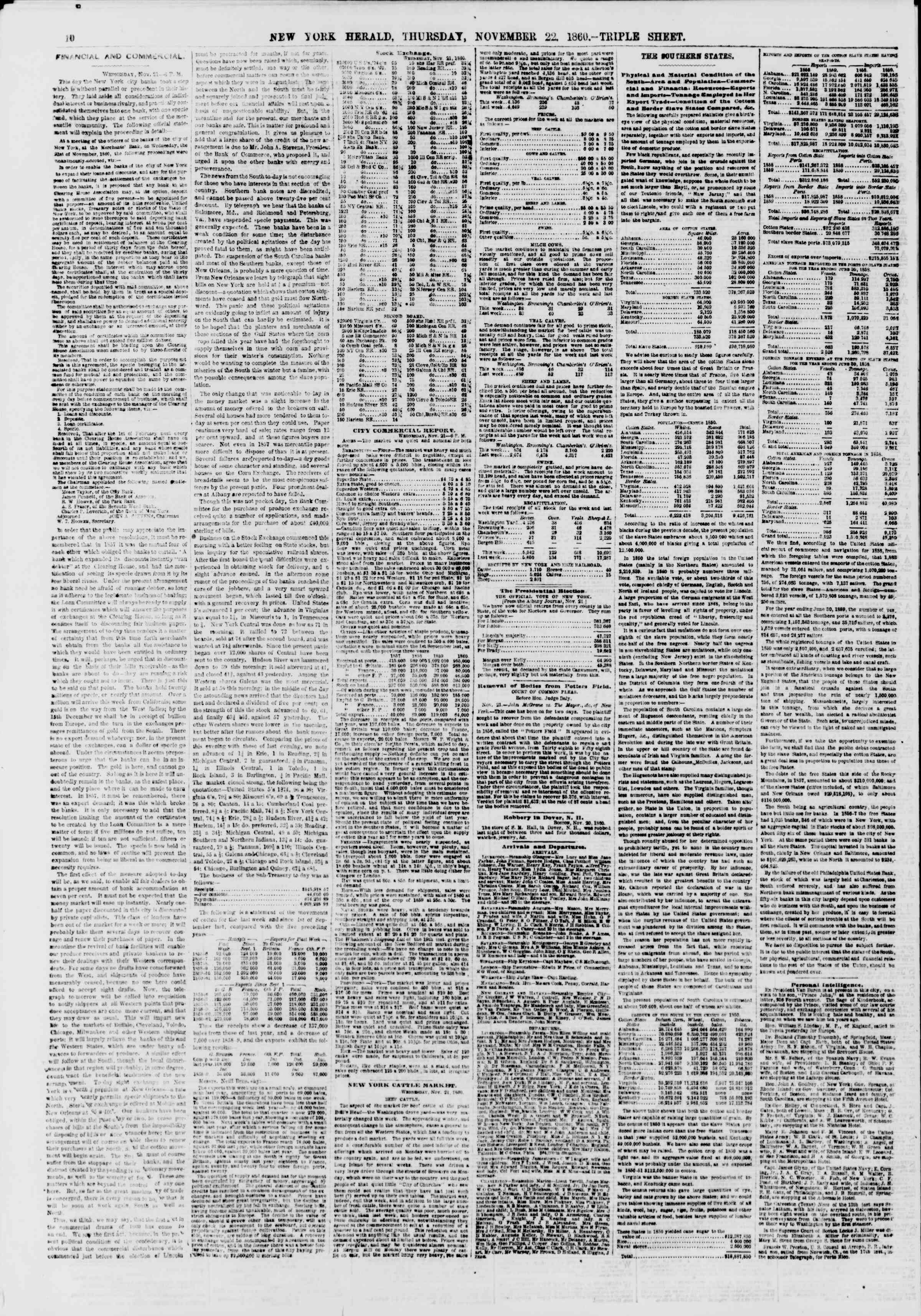 Newspaper of The New York Herald dated November 22, 1860 Page 11
