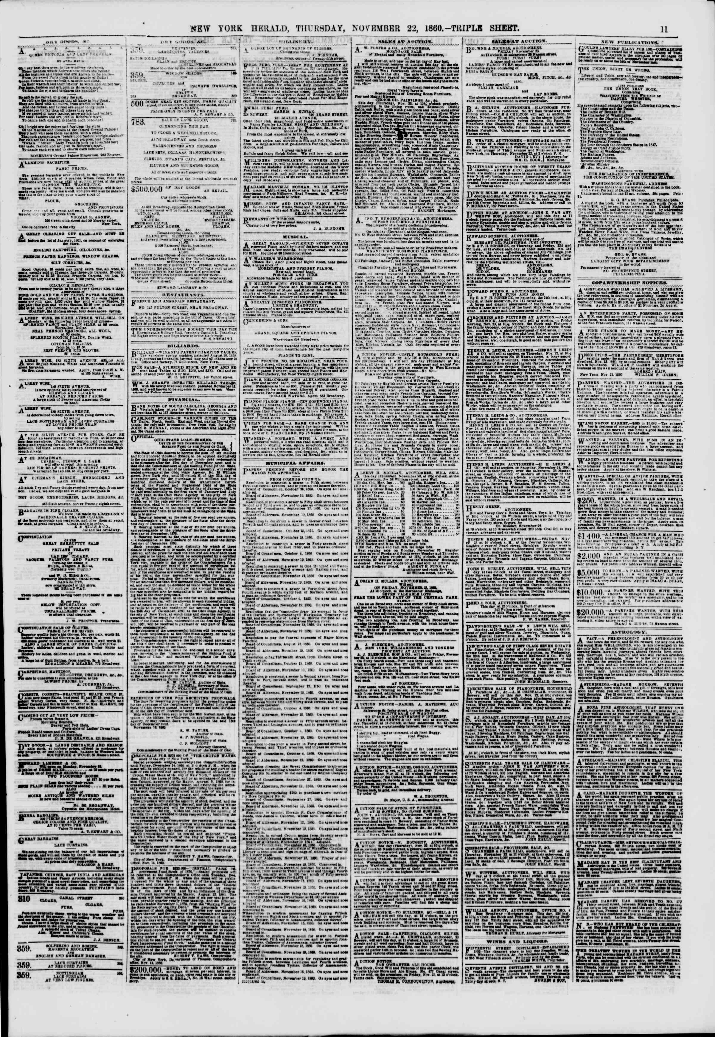 Newspaper of The New York Herald dated November 22, 1860 Page 12