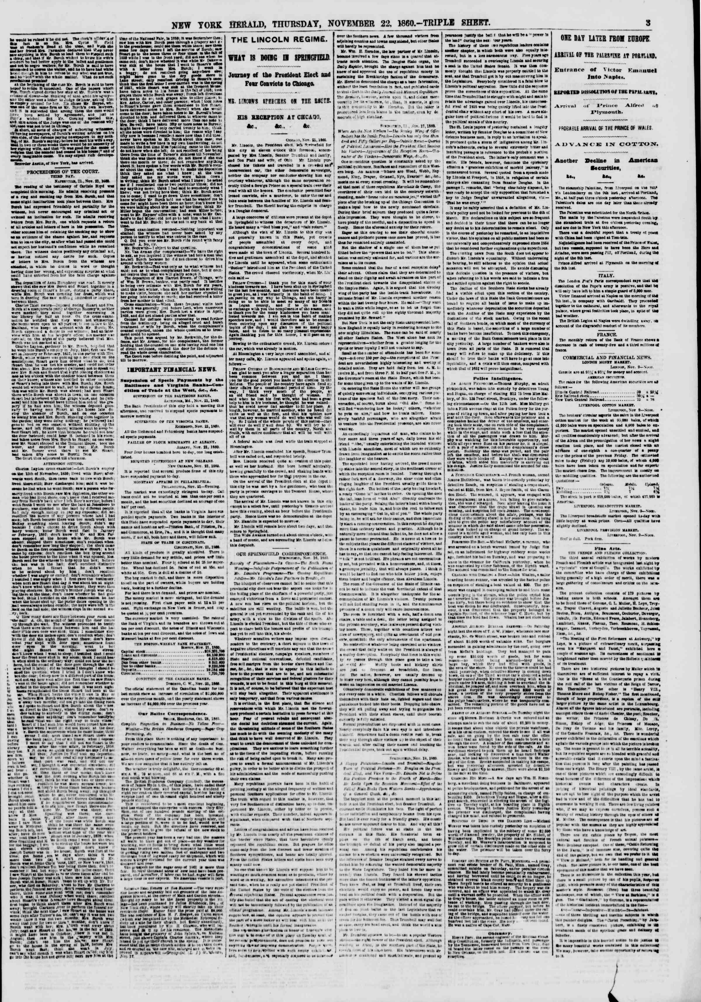 Newspaper of The New York Herald dated November 22, 1860 Page 4