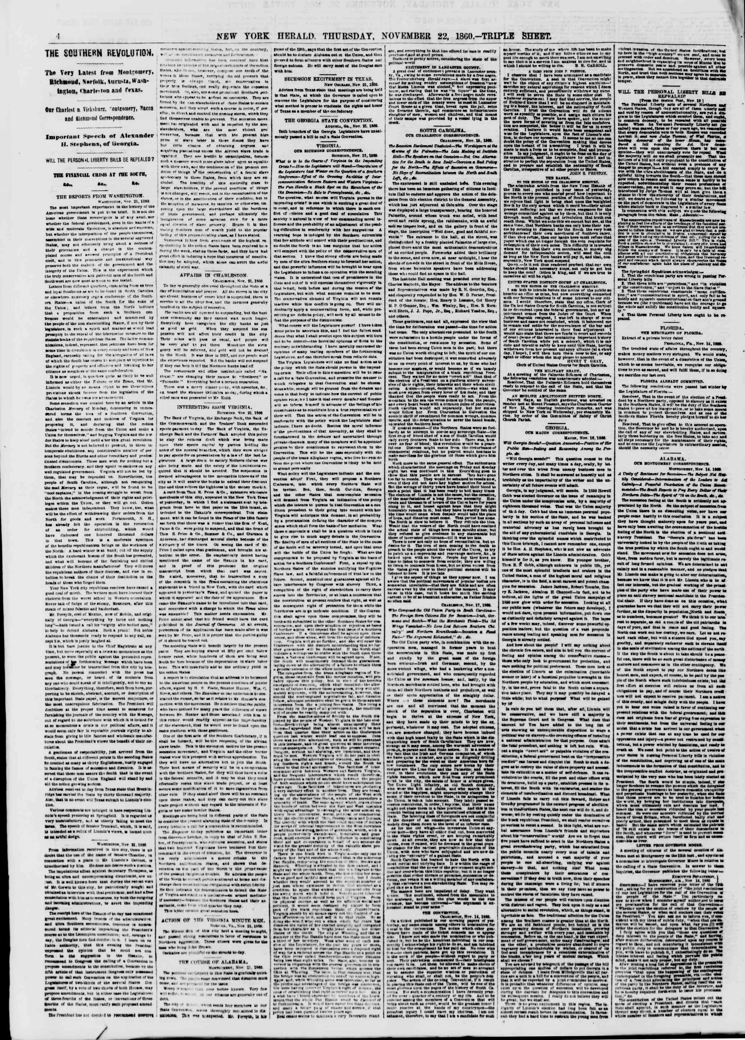 Newspaper of The New York Herald dated November 22, 1860 Page 5