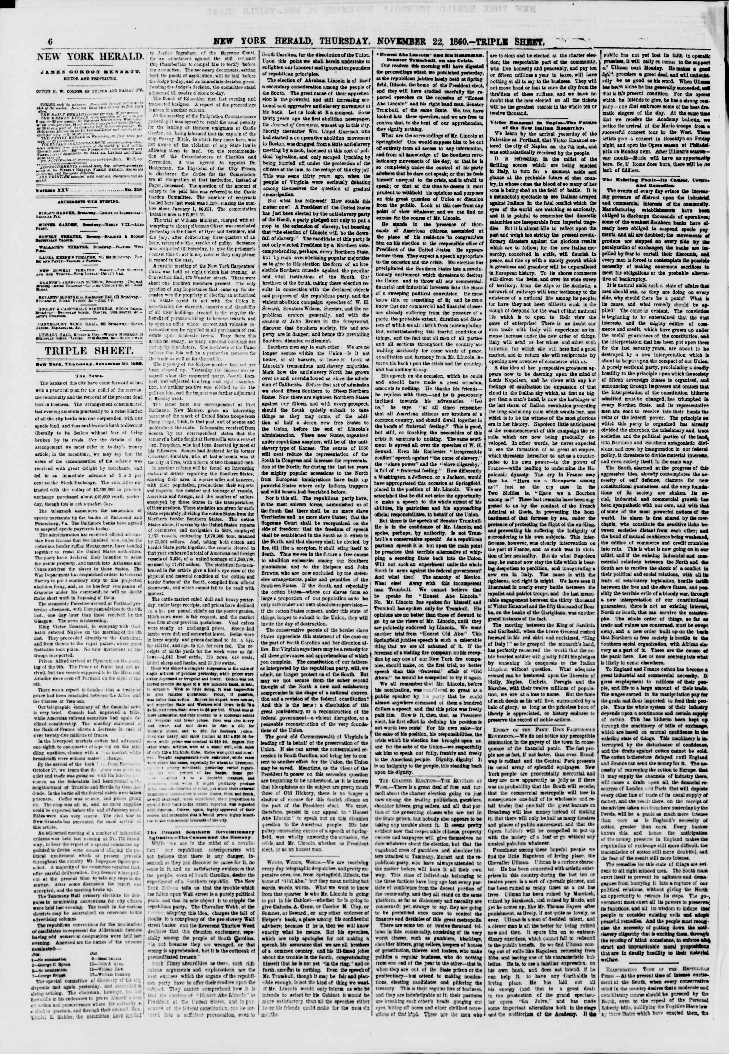 Newspaper of The New York Herald dated November 22, 1860 Page 7