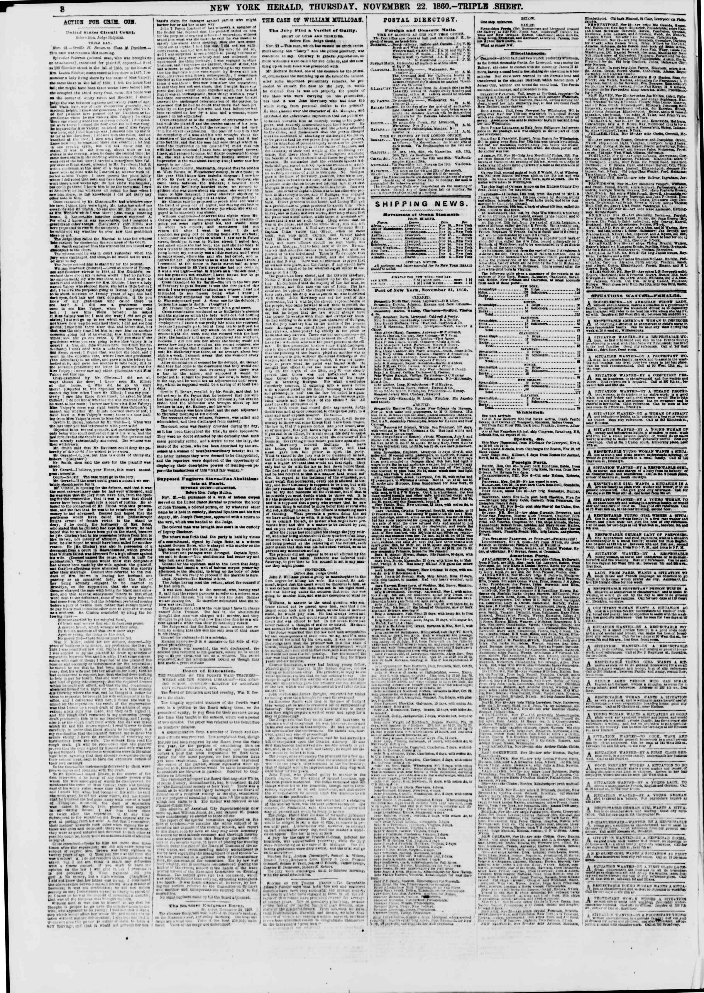 Newspaper of The New York Herald dated November 22, 1860 Page 9