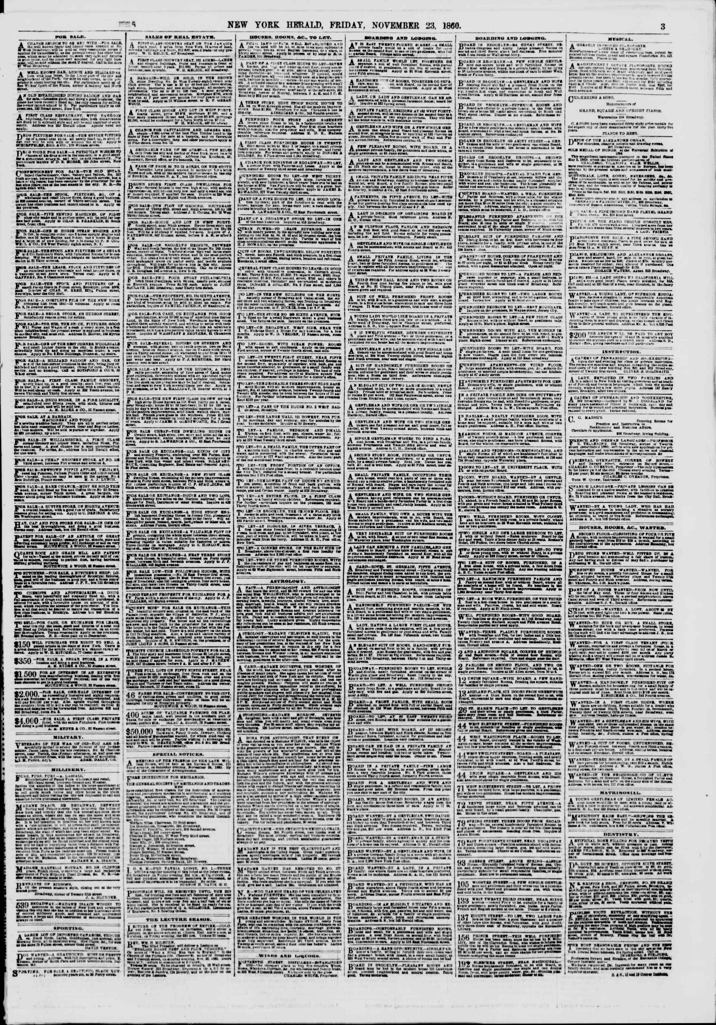 Newspaper of The New York Herald dated November 23, 1860 Page 3
