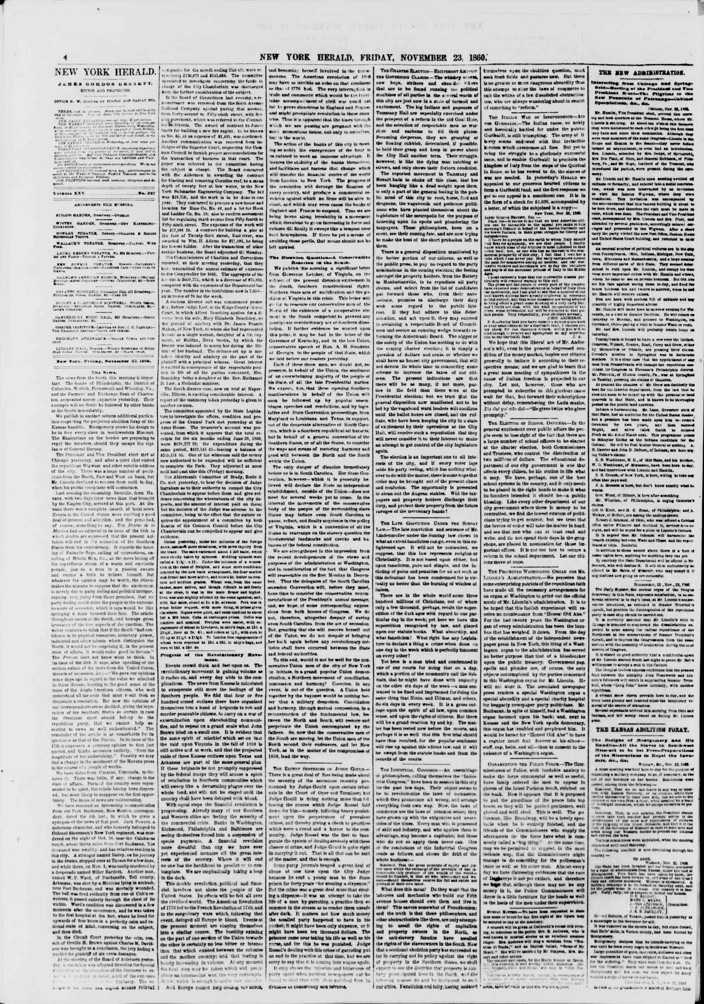 23 Kasım 1860 tarihli The New York Herald Gazetesi Sayfa 4