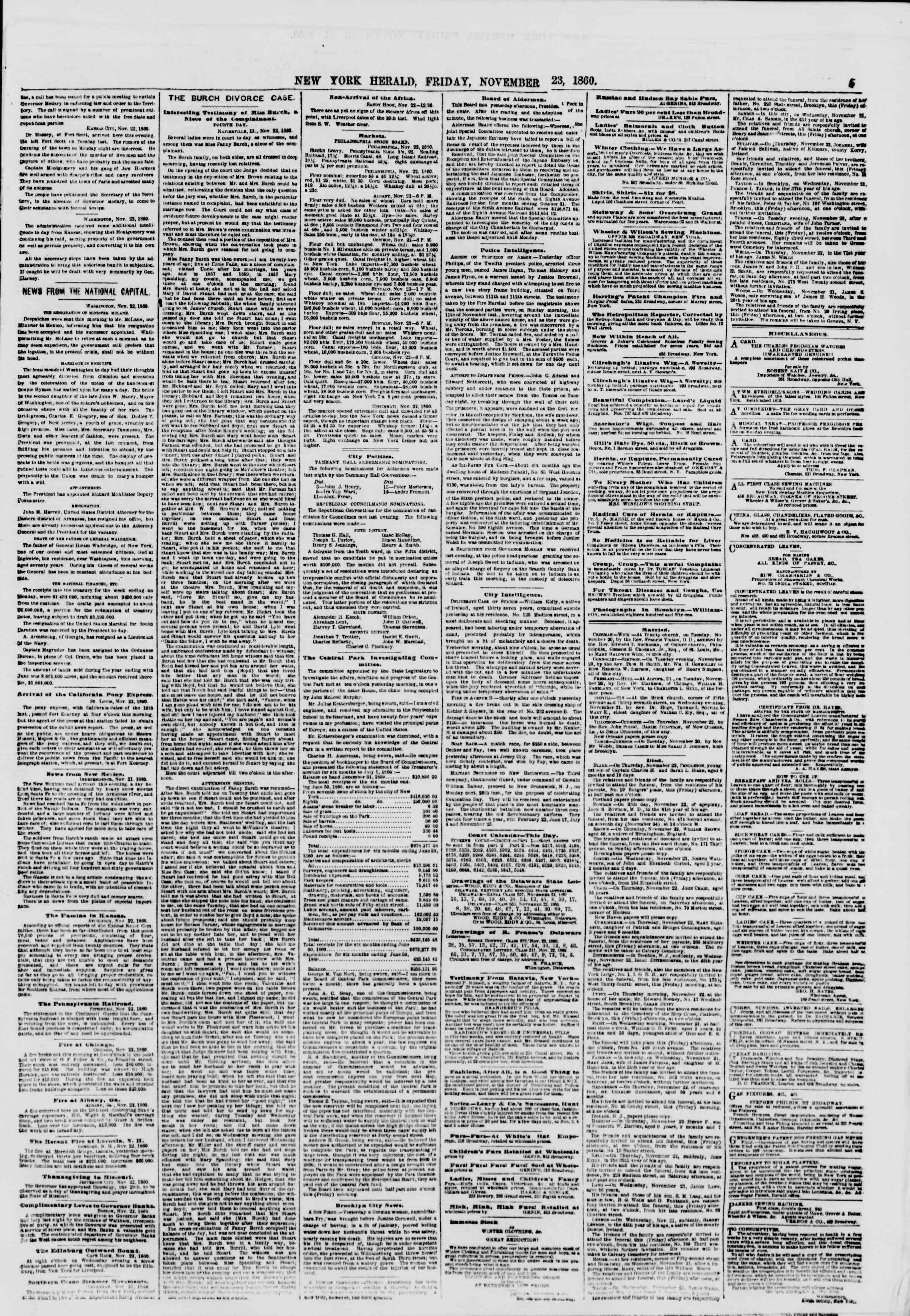 Newspaper of The New York Herald dated November 23, 1860 Page 5