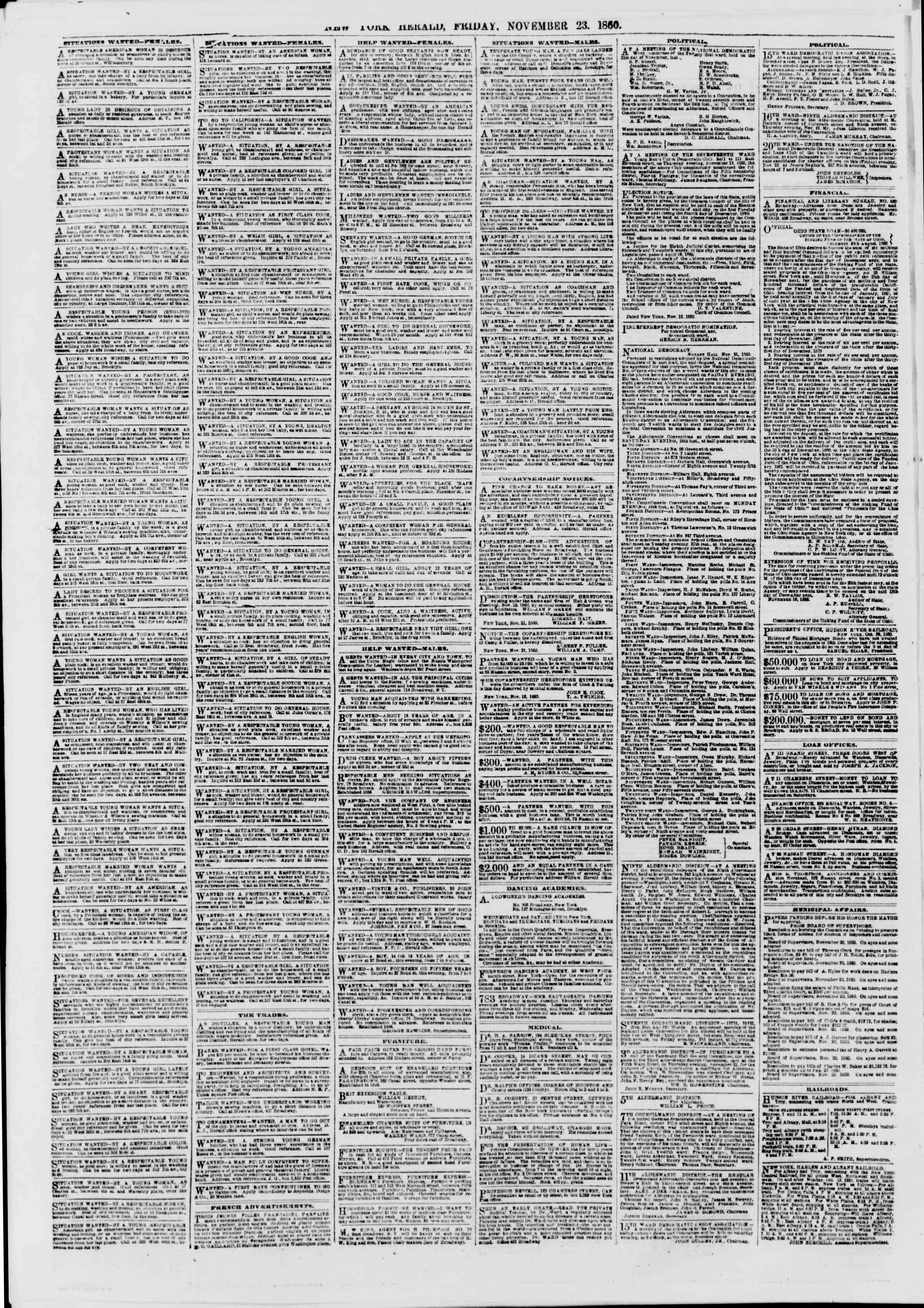 Newspaper of The New York Herald dated November 23, 1860 Page 6