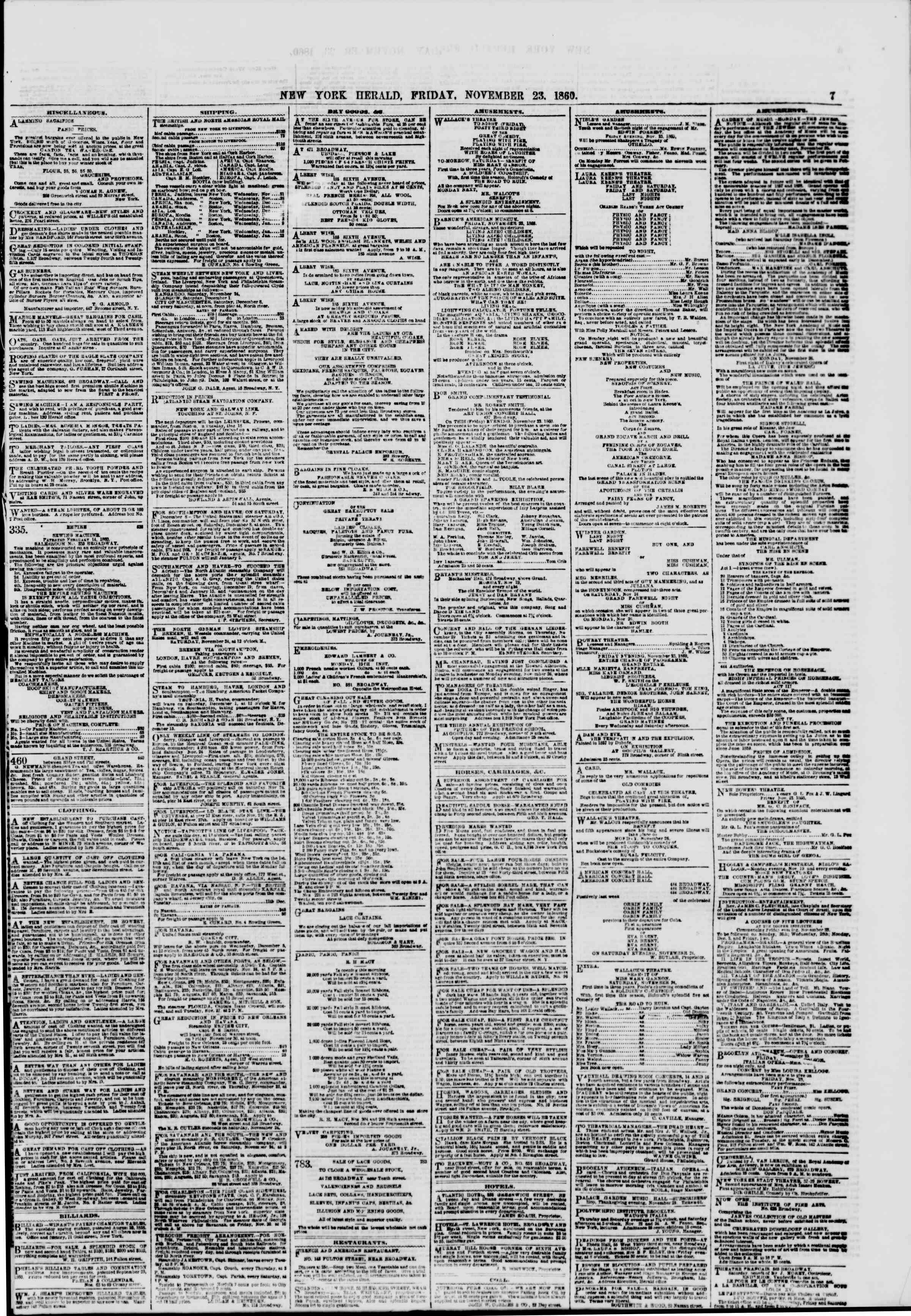 Newspaper of The New York Herald dated November 23, 1860 Page 7