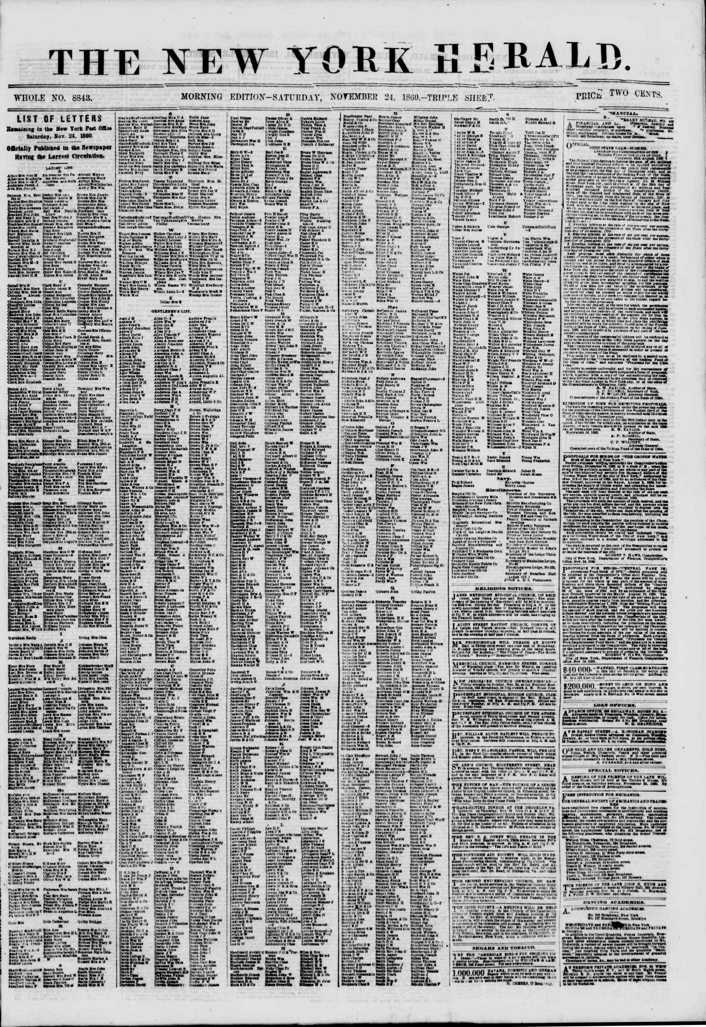 Newspaper of The New York Herald dated November 24, 1860 Page 1