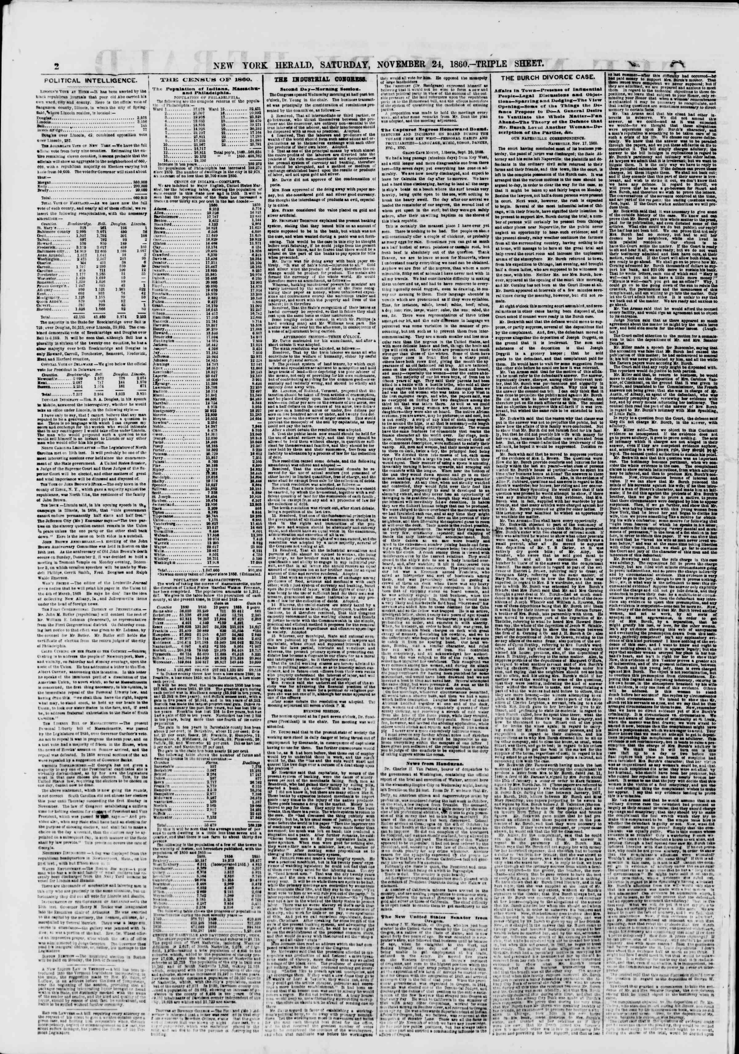 24 Kasım 1860 tarihli The New York Herald Gazetesi Sayfa 2