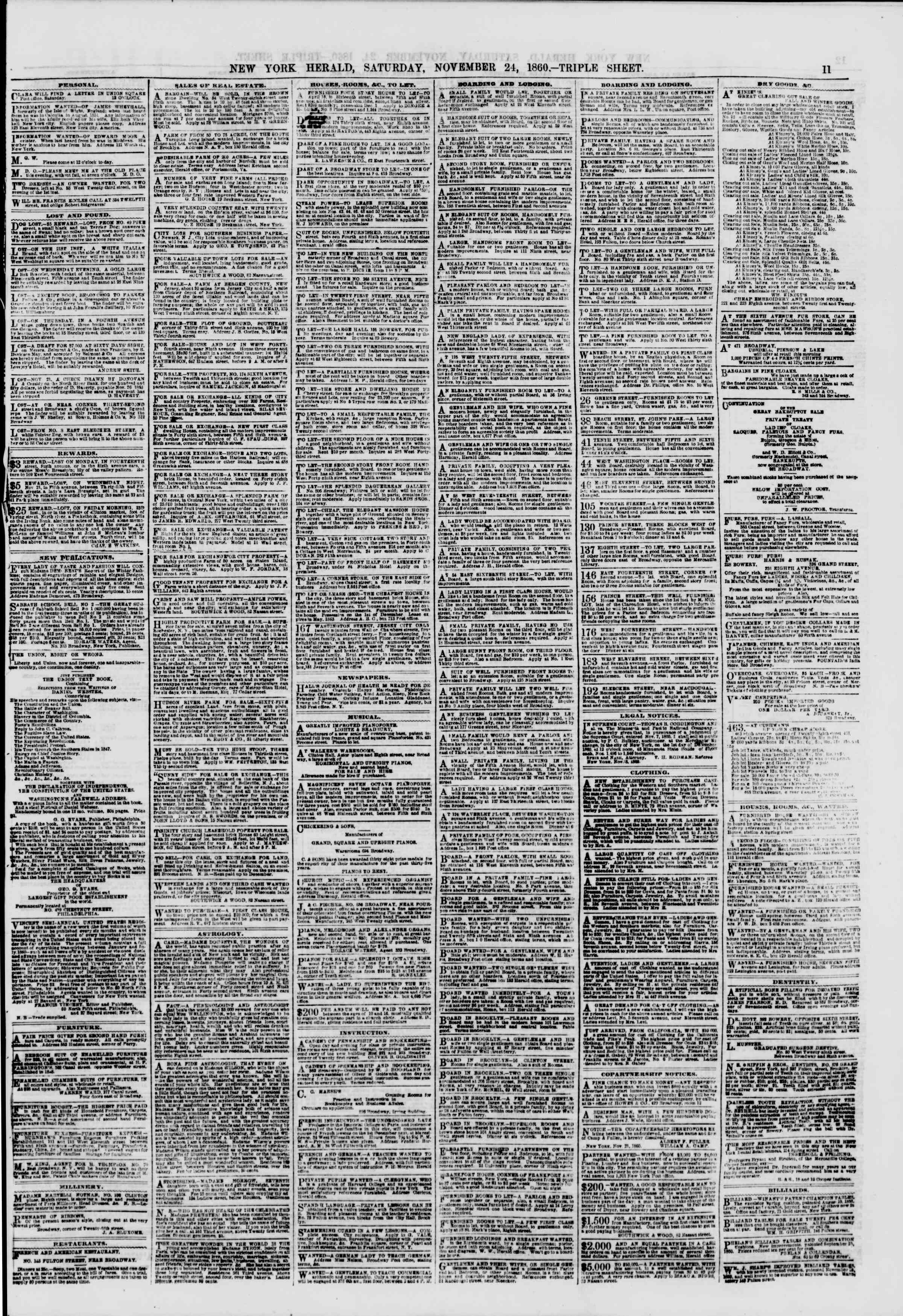 Newspaper of The New York Herald dated November 24, 1860 Page 11