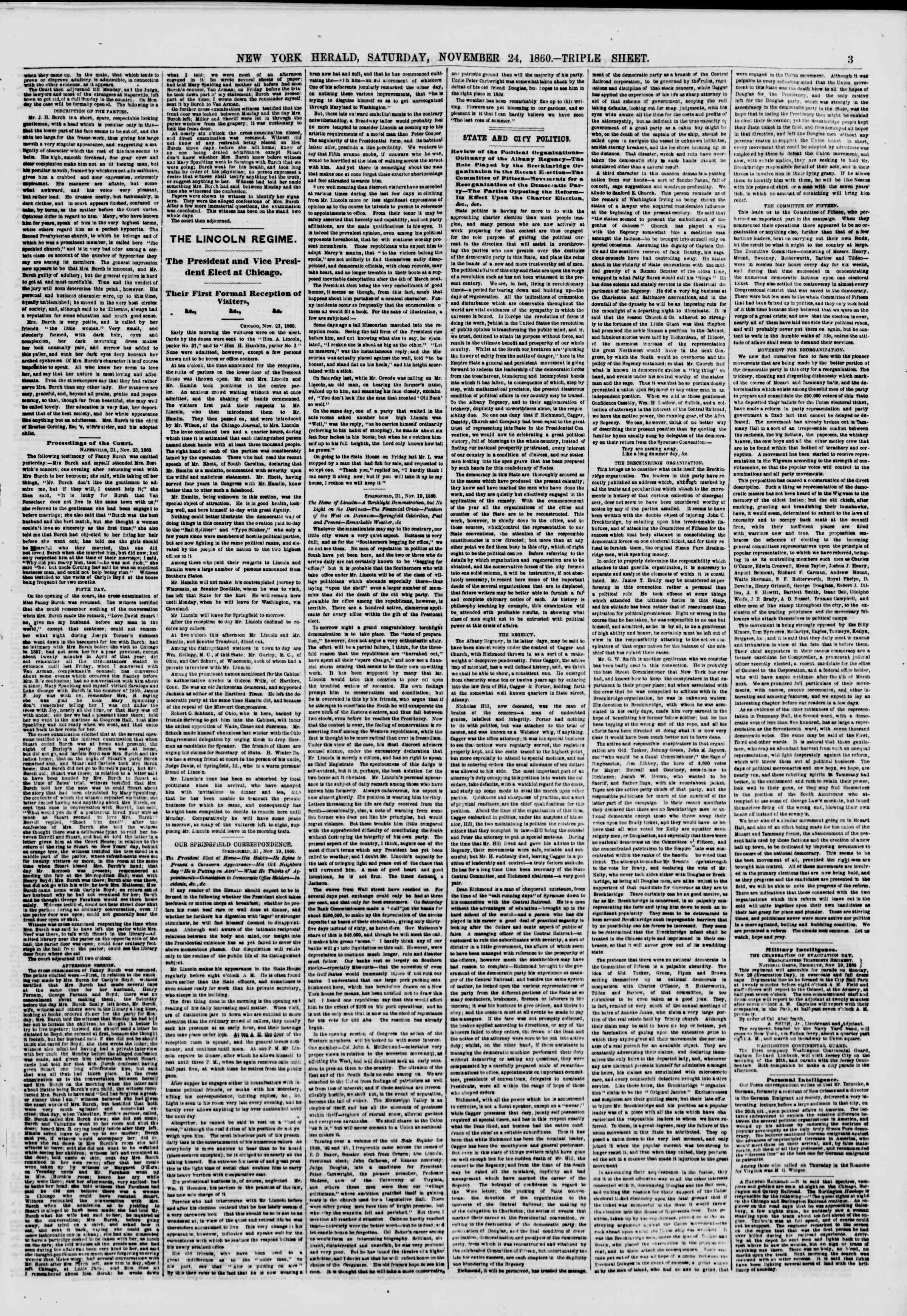Newspaper of The New York Herald dated November 24, 1860 Page 3