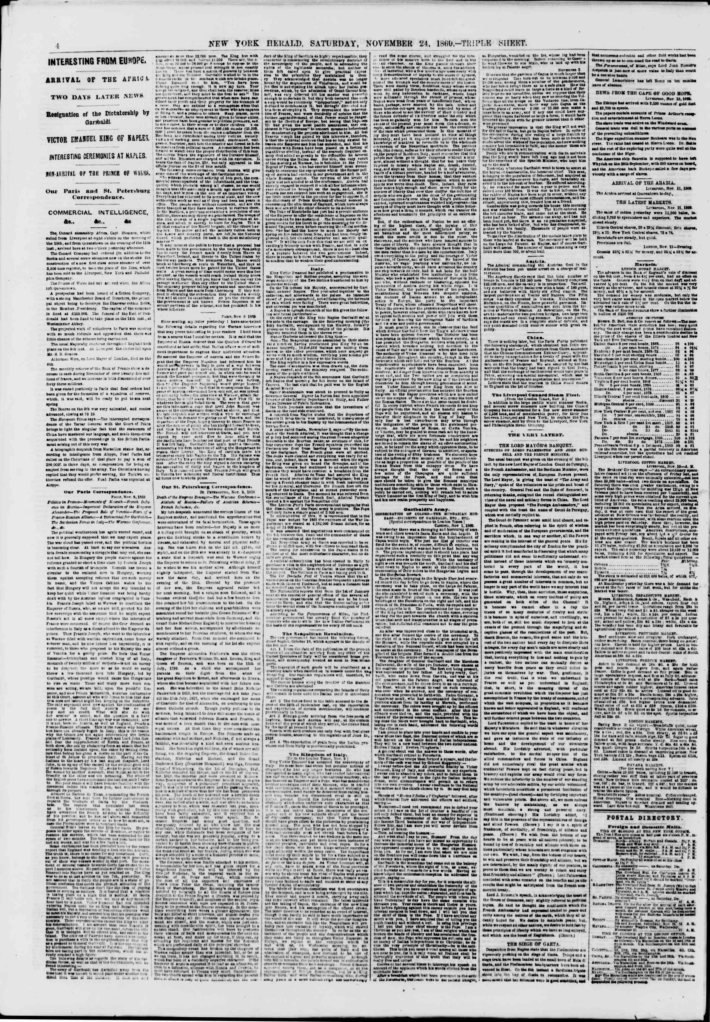 Newspaper of The New York Herald dated November 24, 1860 Page 4
