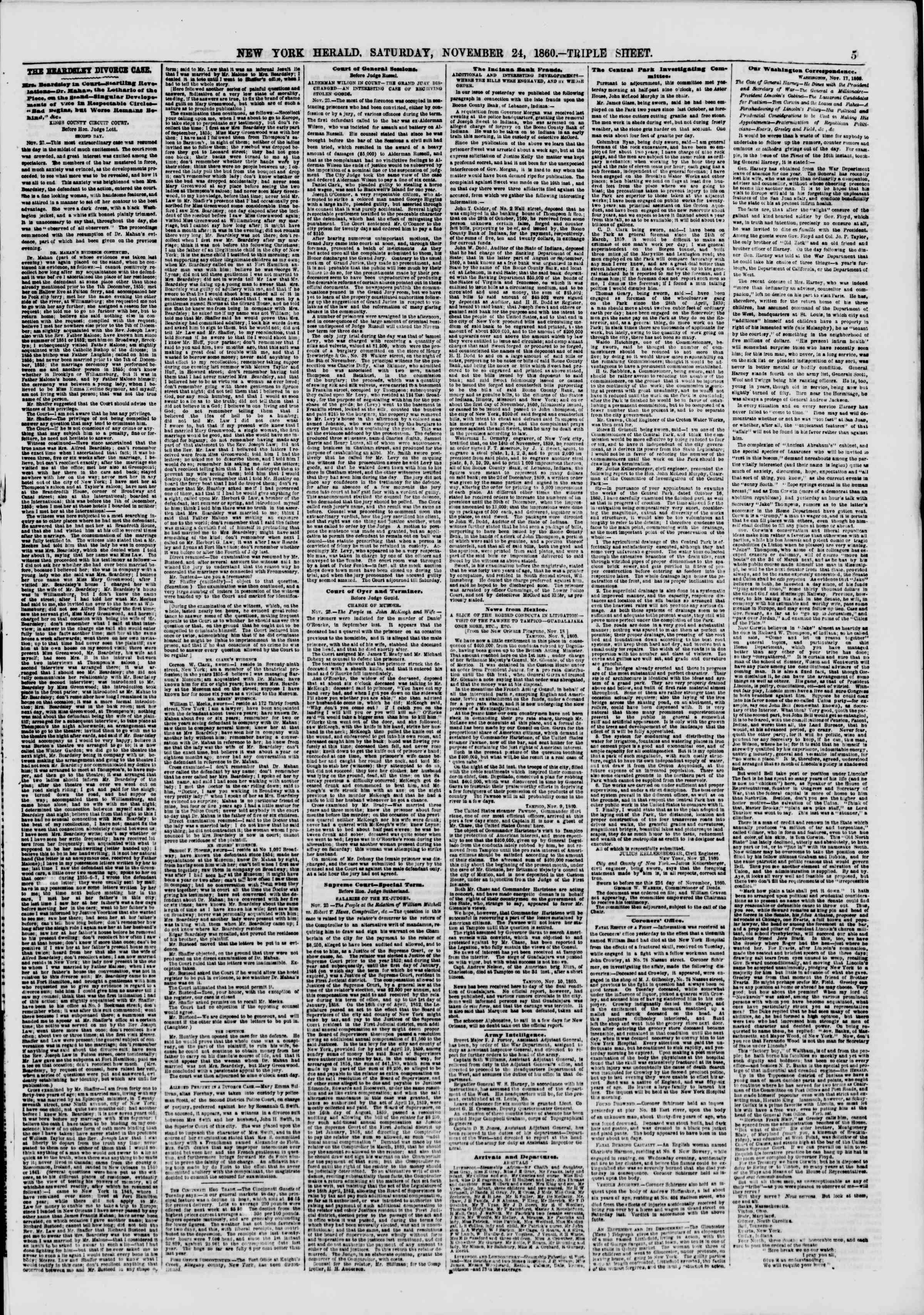 Newspaper of The New York Herald dated November 24, 1860 Page 5