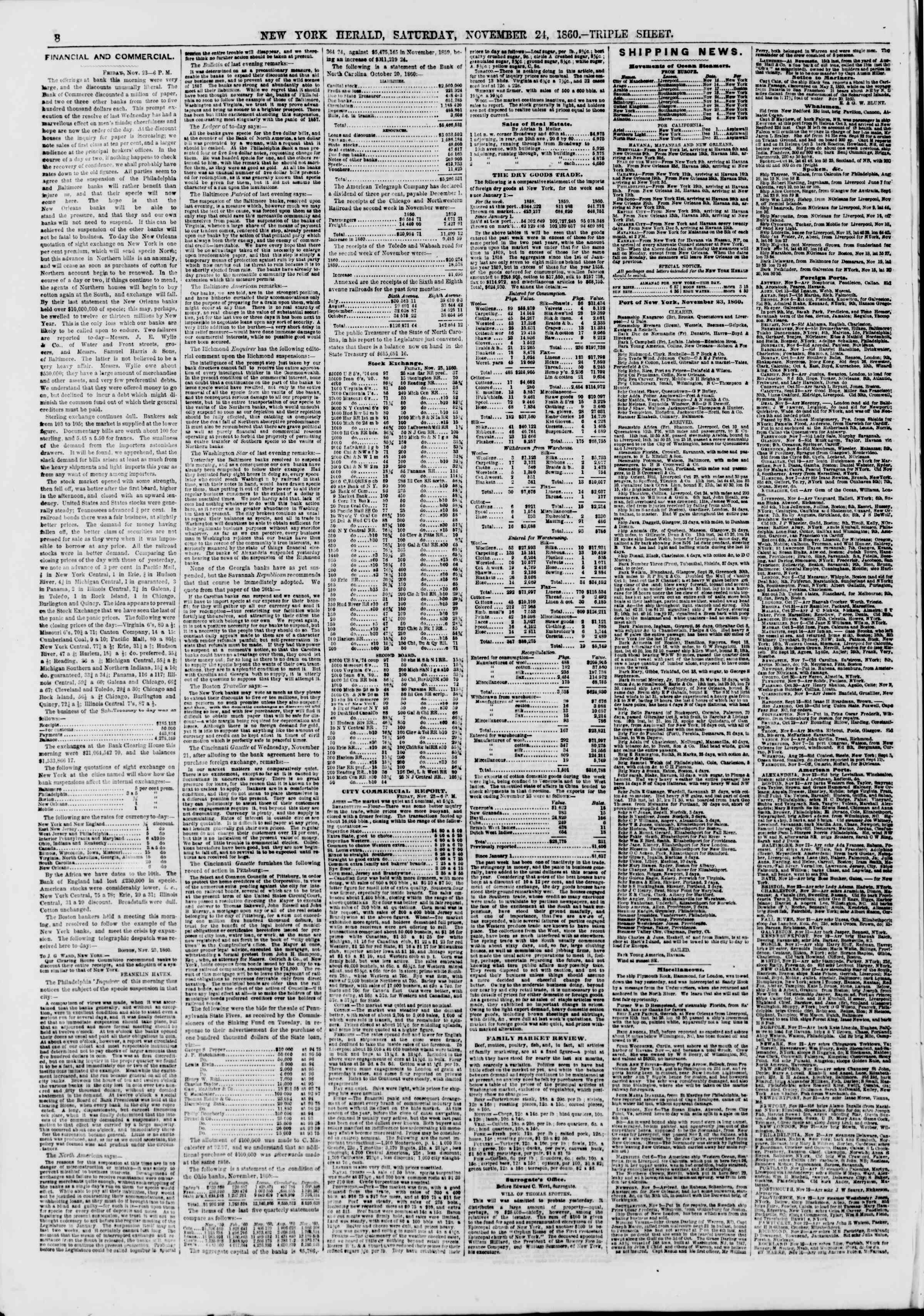 Newspaper of The New York Herald dated November 24, 1860 Page 8