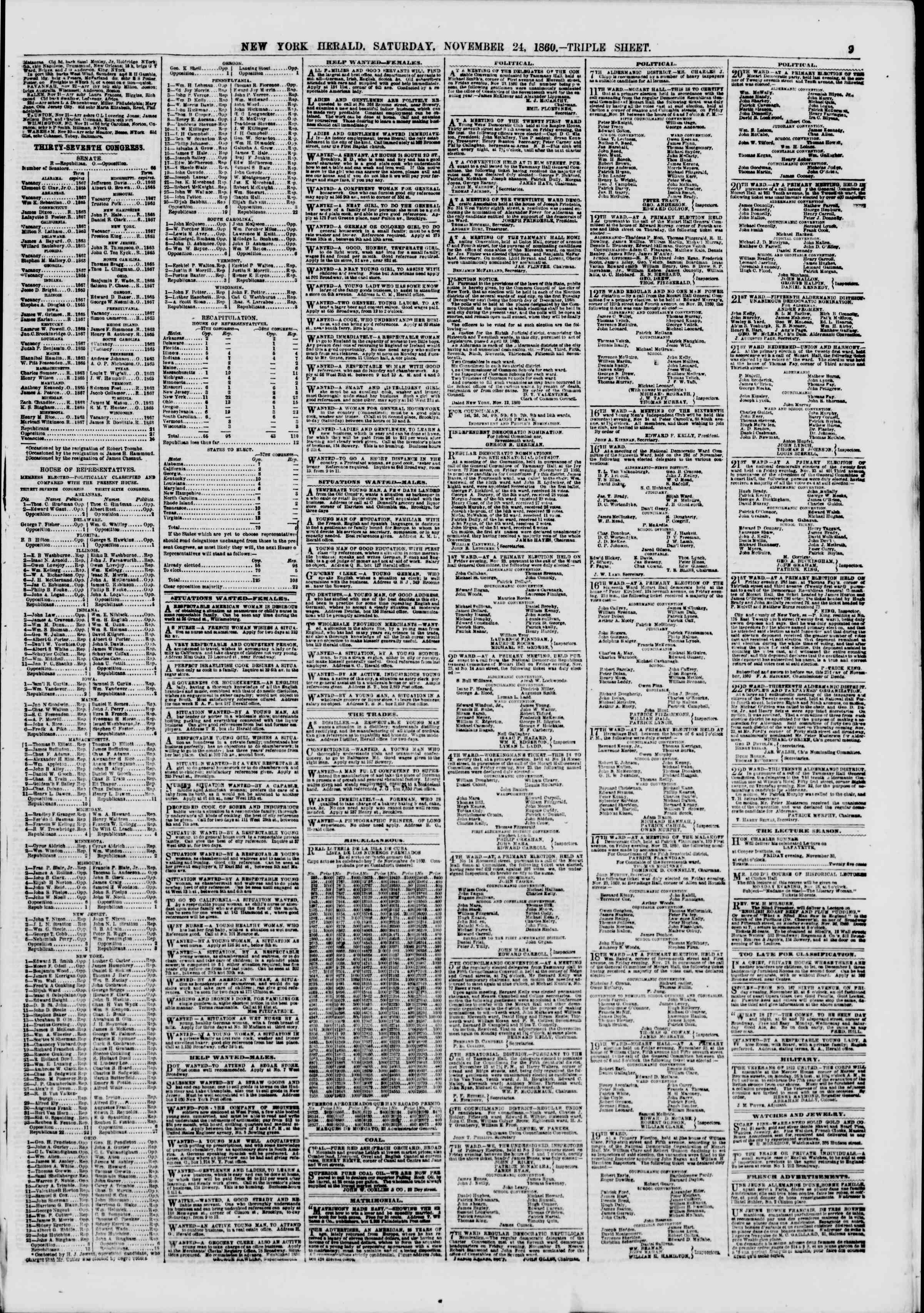 Newspaper of The New York Herald dated November 24, 1860 Page 9