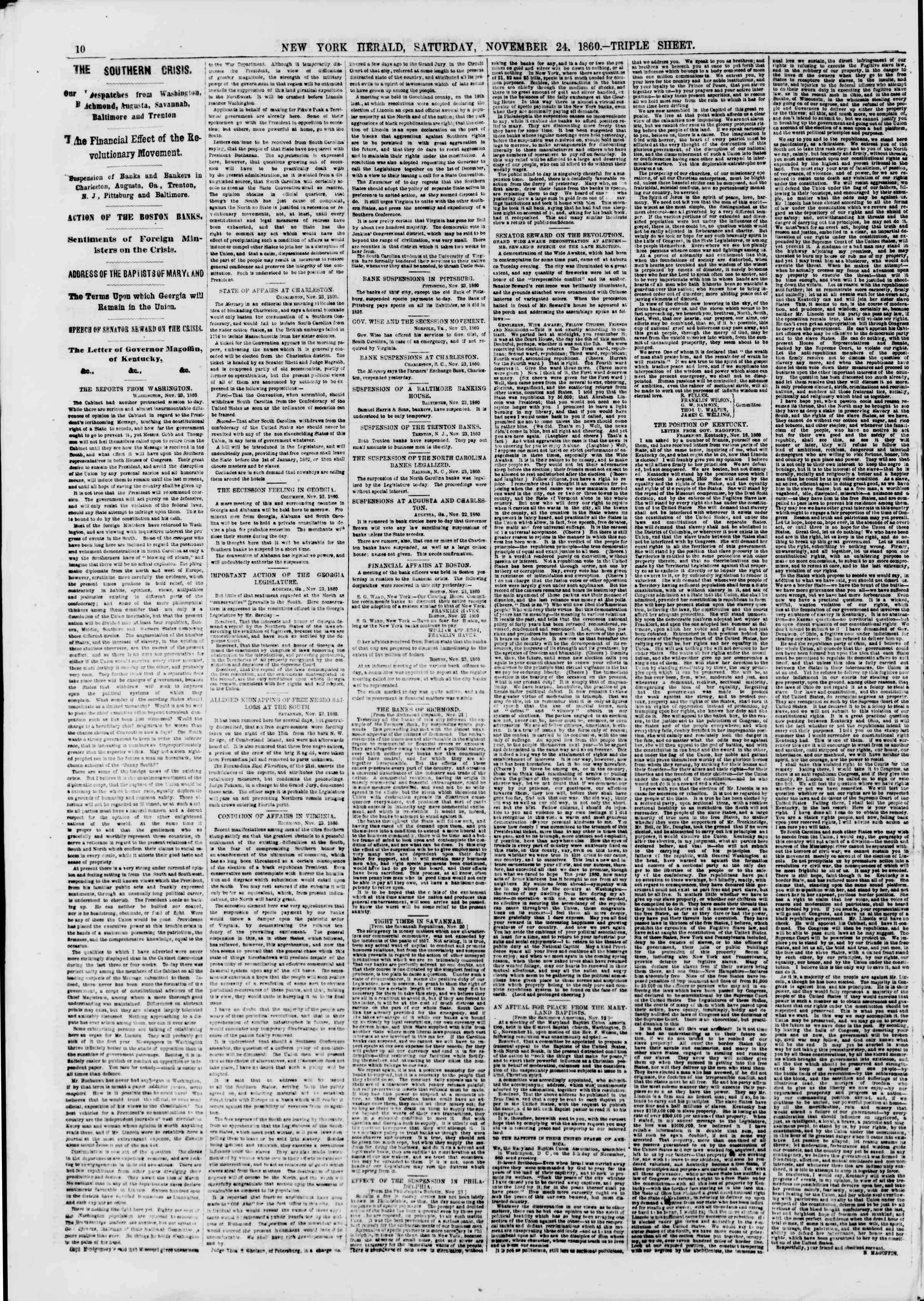 Newspaper of The New York Herald dated November 24, 1860 Page 10