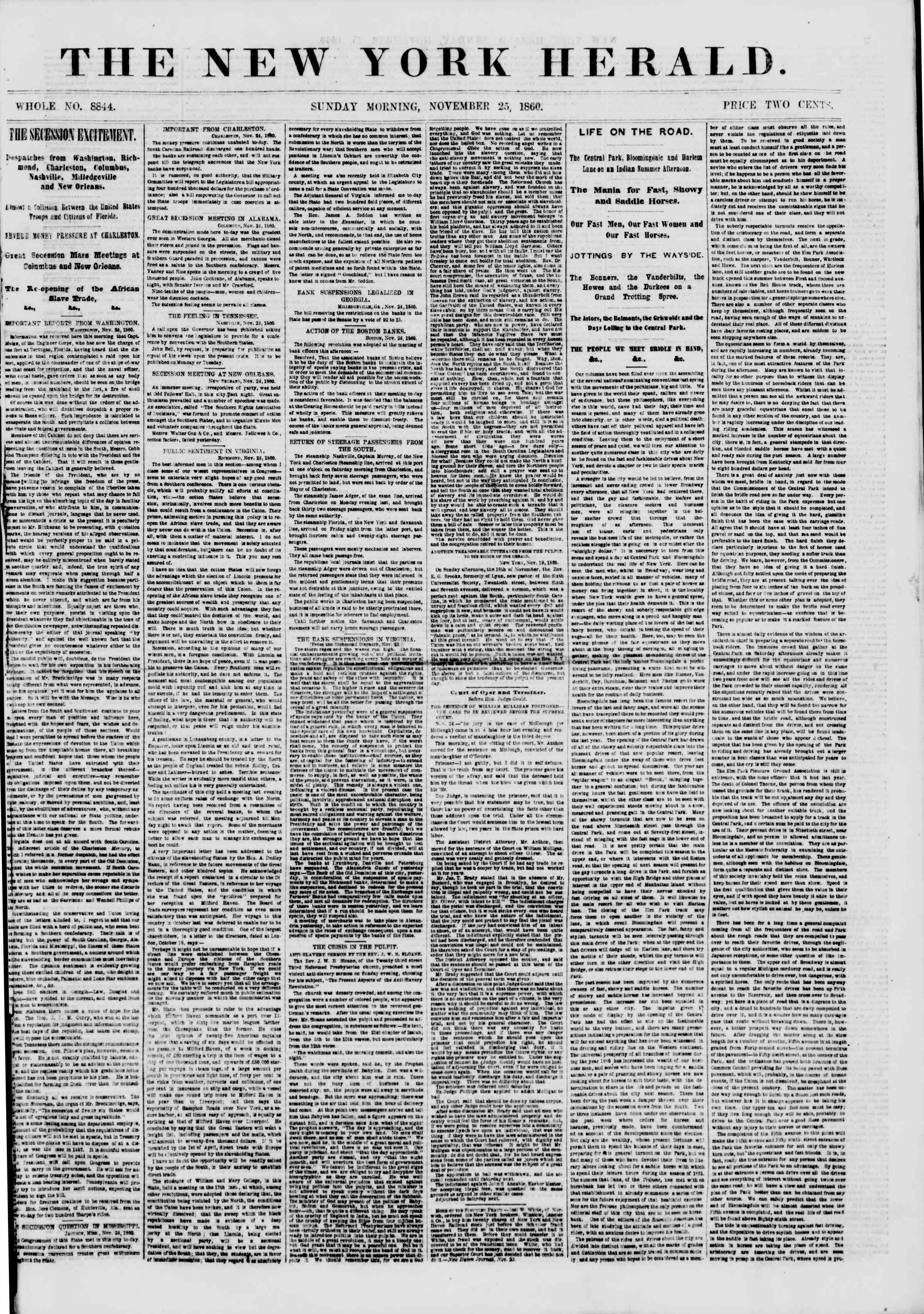 Newspaper of The New York Herald dated November 25, 1860 Page 1