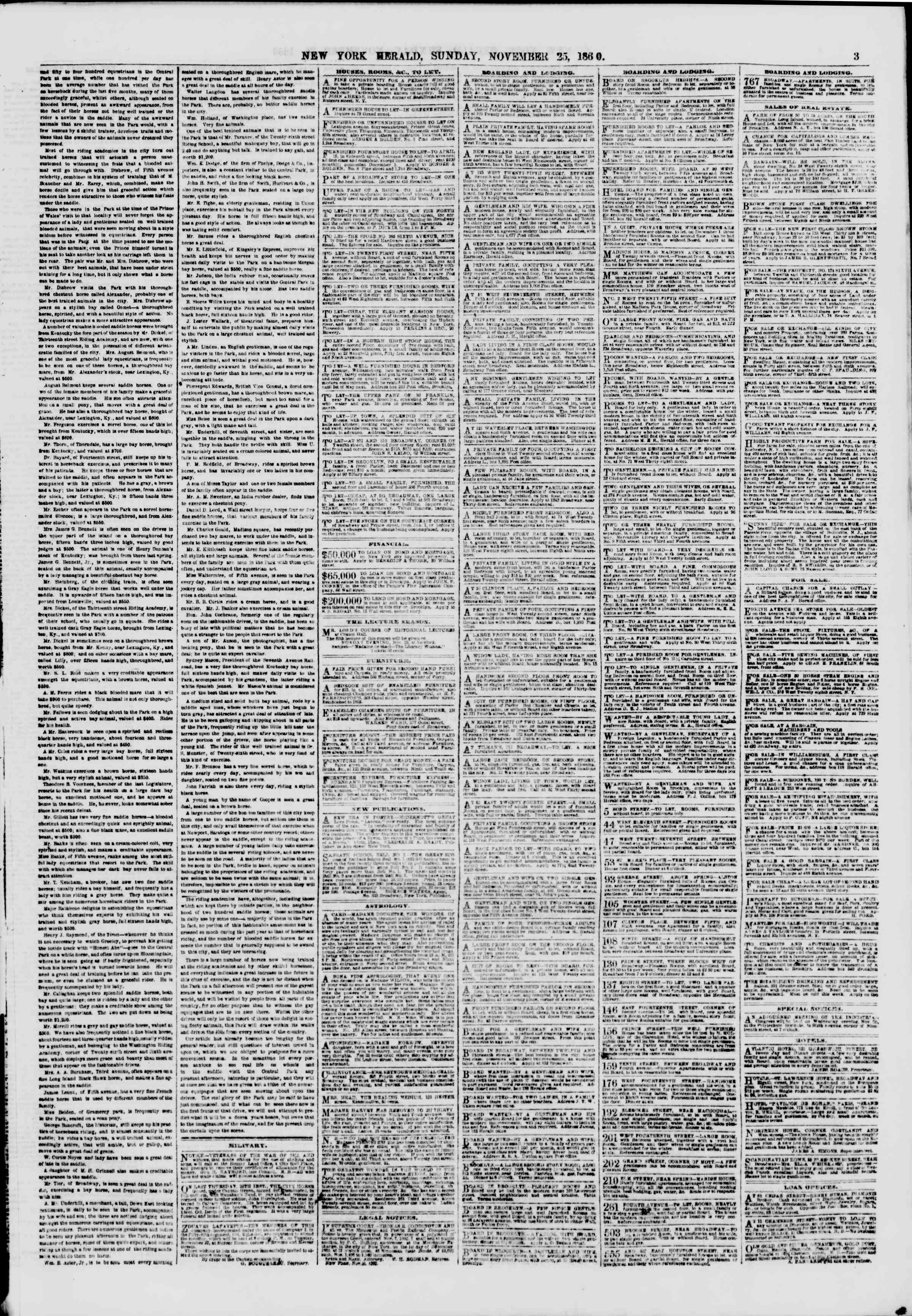 Newspaper of The New York Herald dated November 25, 1860 Page 3