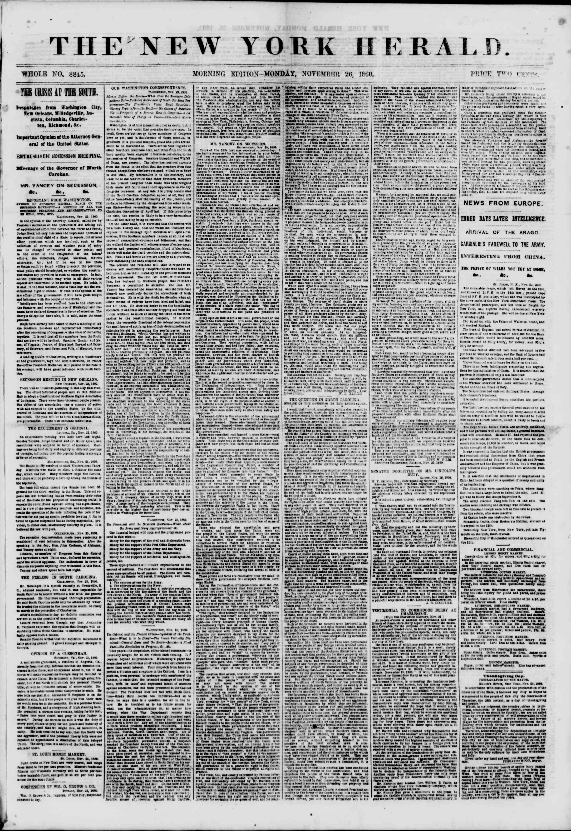 Newspaper of The New York Herald dated November 26, 1860 Page 1