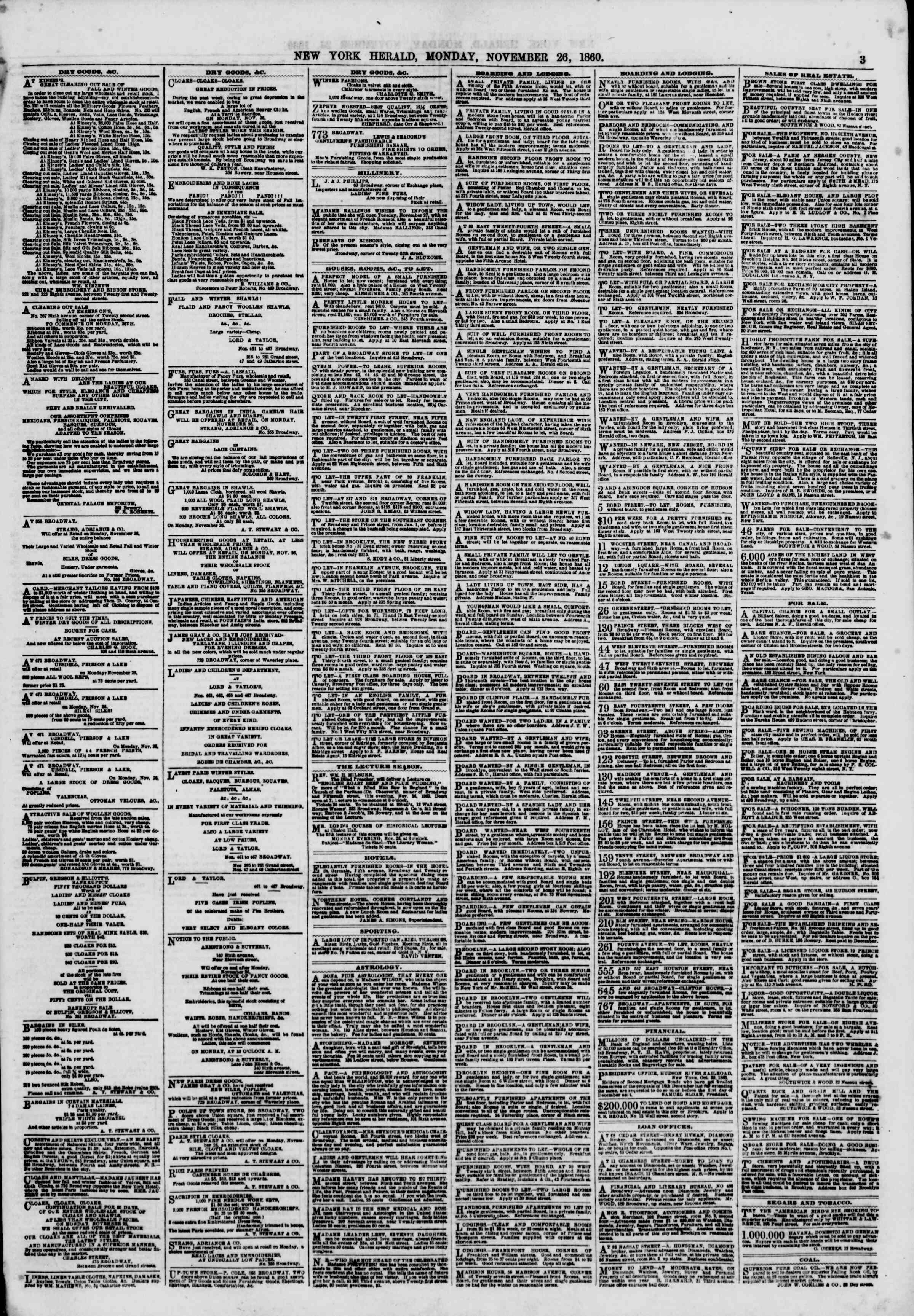 Newspaper of The New York Herald dated November 26, 1860 Page 3