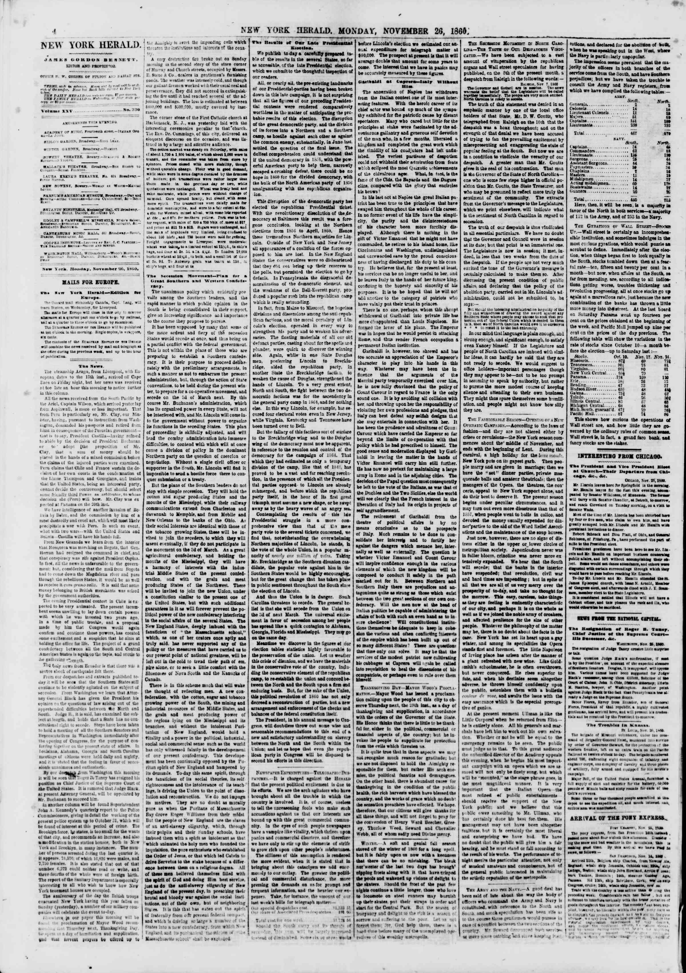Newspaper of The New York Herald dated November 26, 1860 Page 4