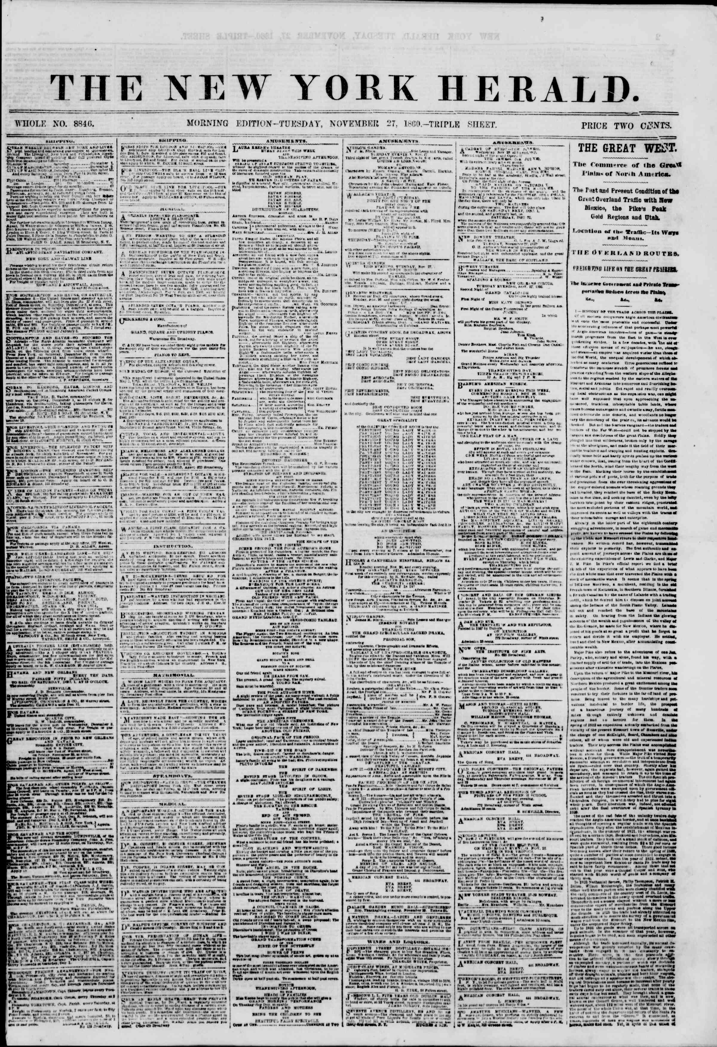 Newspaper of The New York Herald dated November 27, 1860 Page 1