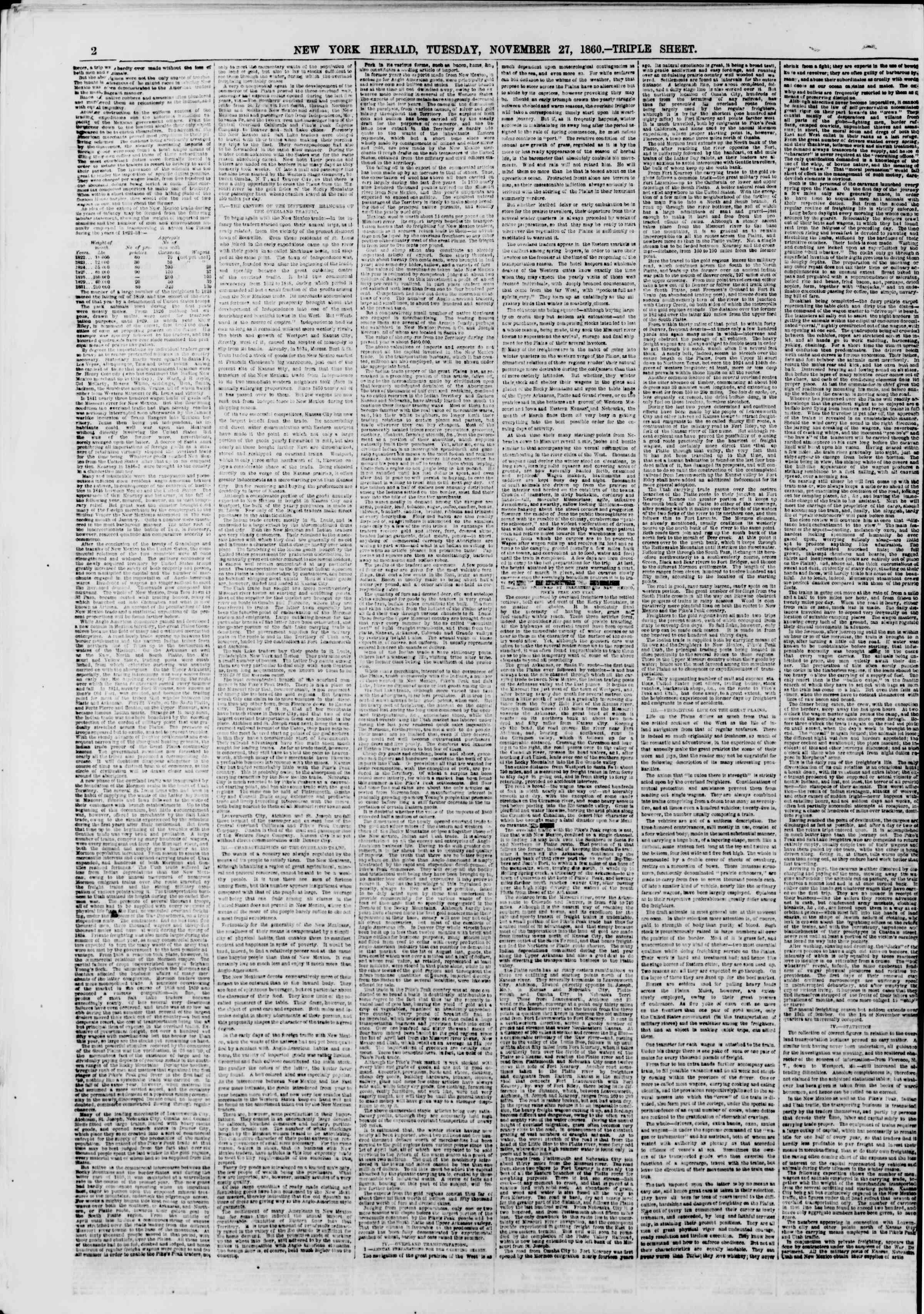 Newspaper of The New York Herald dated November 27, 1860 Page 2